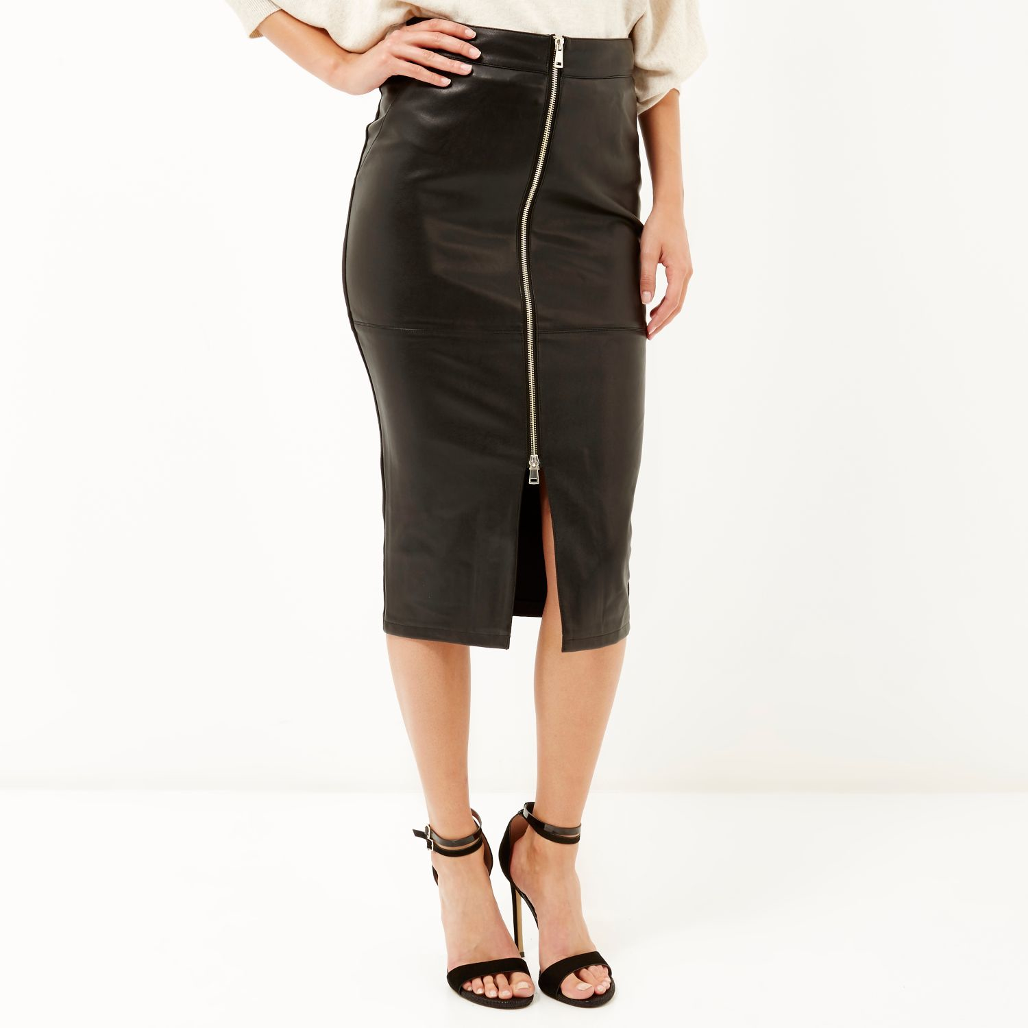 River island Black Leather-look Zip-up Pencil Skirt in Black | Lyst