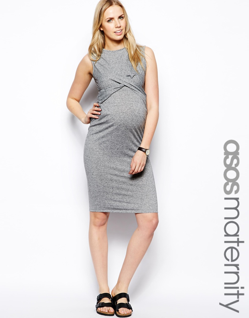 Asos exclusive wrap bodycon dress in neppi in gray lyst gallery ombrellifo Gallery