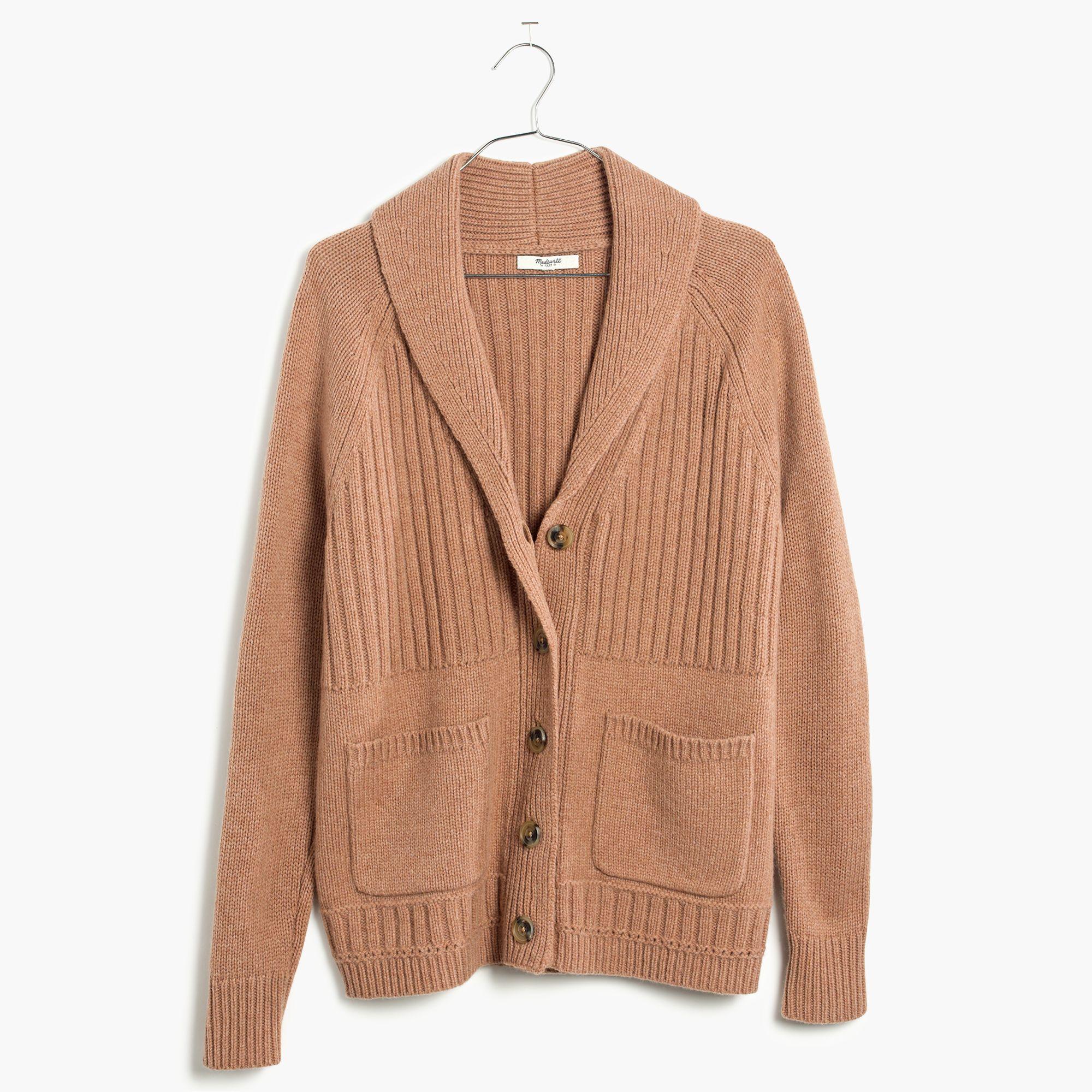 Madewell Shawl-collar Rib Cardigan Sweater in Natural | Lyst