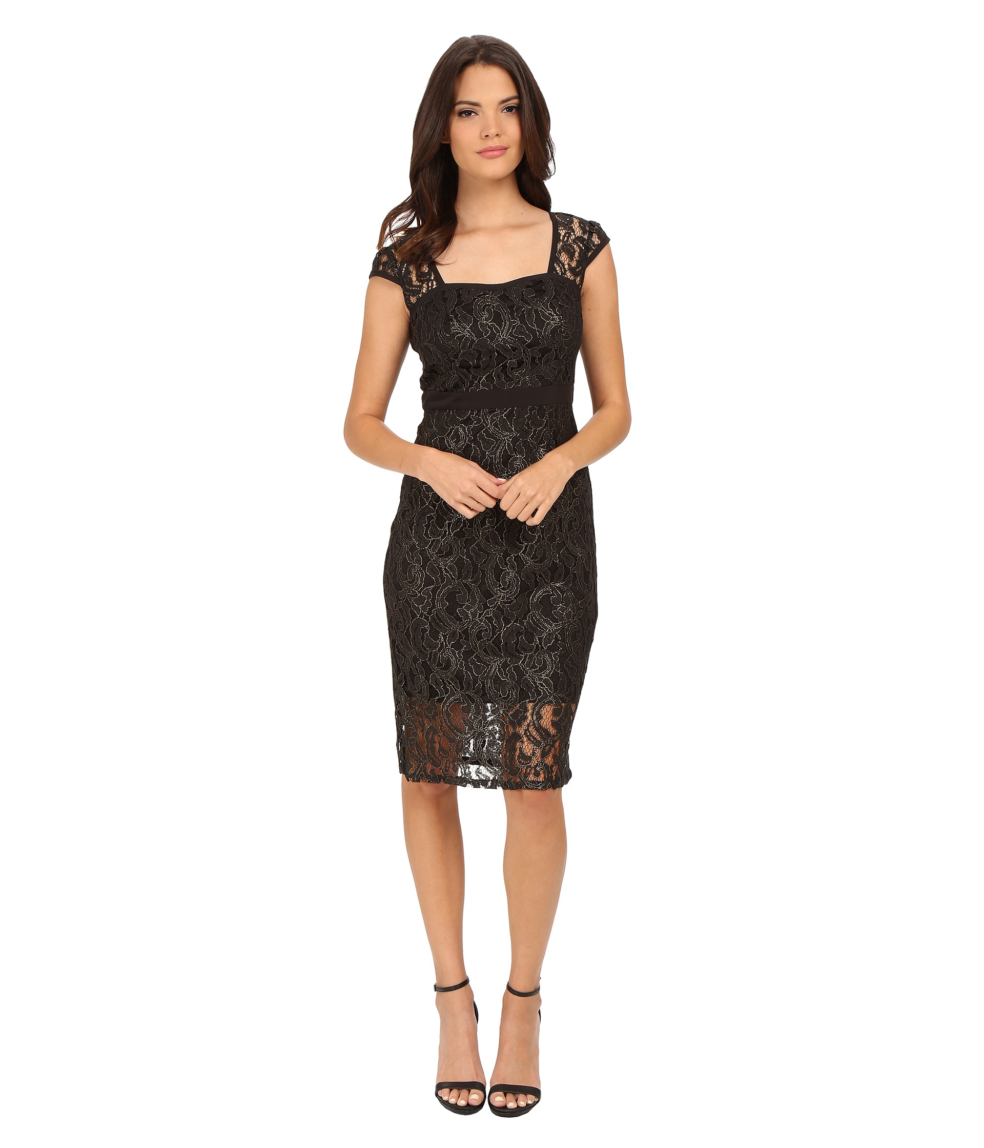 Adrianna papell Metallic Lace Sheath Dress With Cap Sleeve in ...