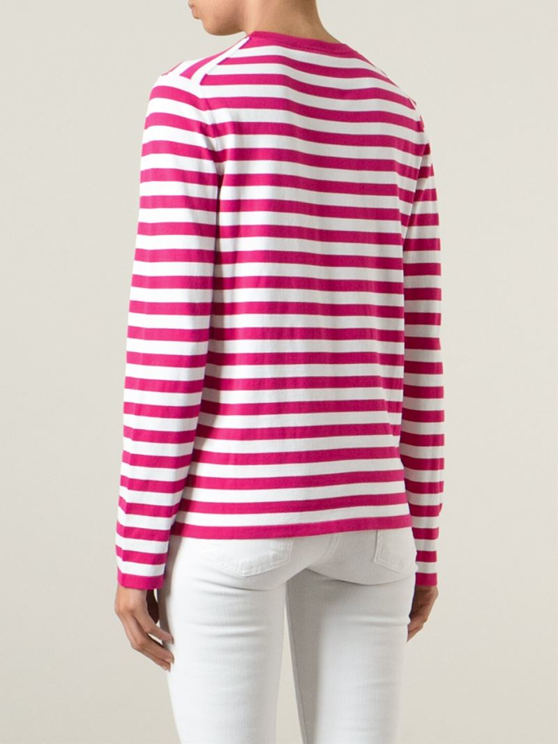 Lyst michael kors striped t shirt in pink for Purple and black striped t shirt