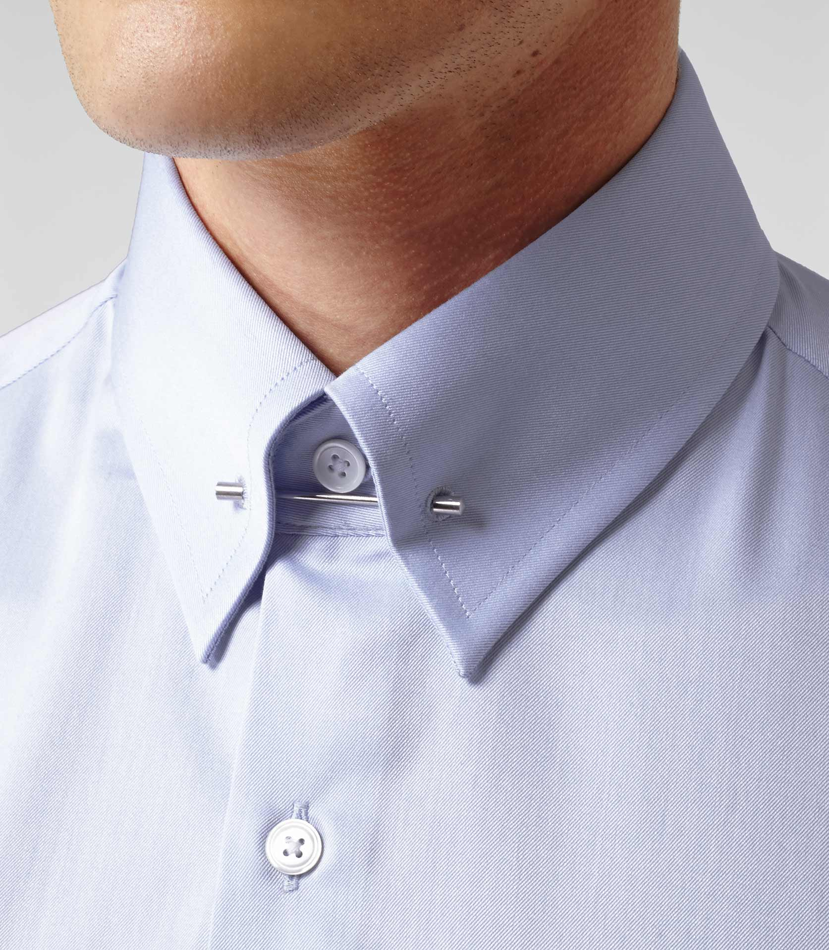 Lyst reiss gregson cotton collar bar shirt in blue for men for Tie bar collar shirt
