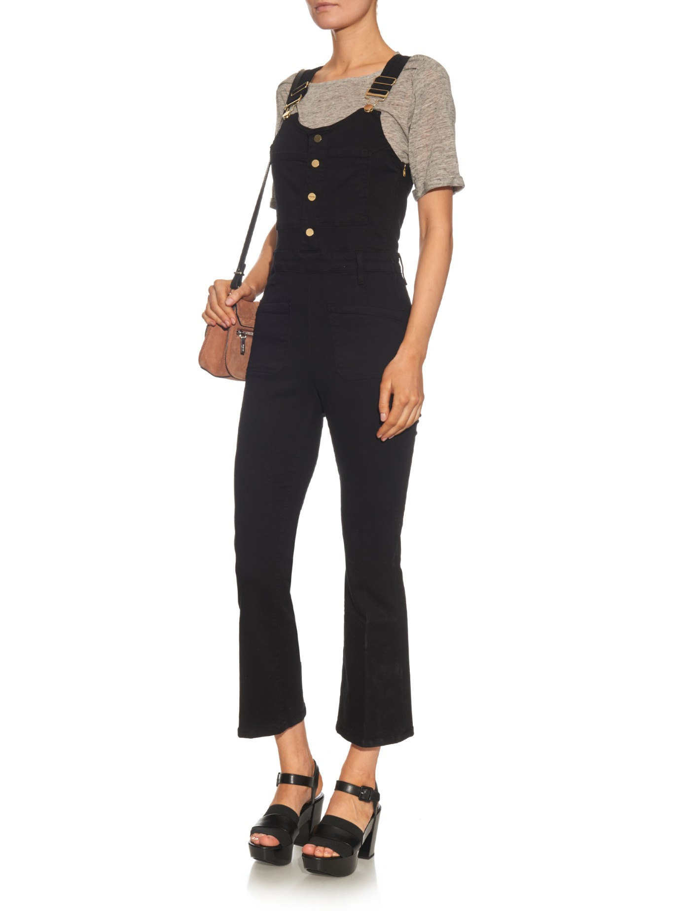 Lyst - Frame Le High Cropped Dungarees in Black