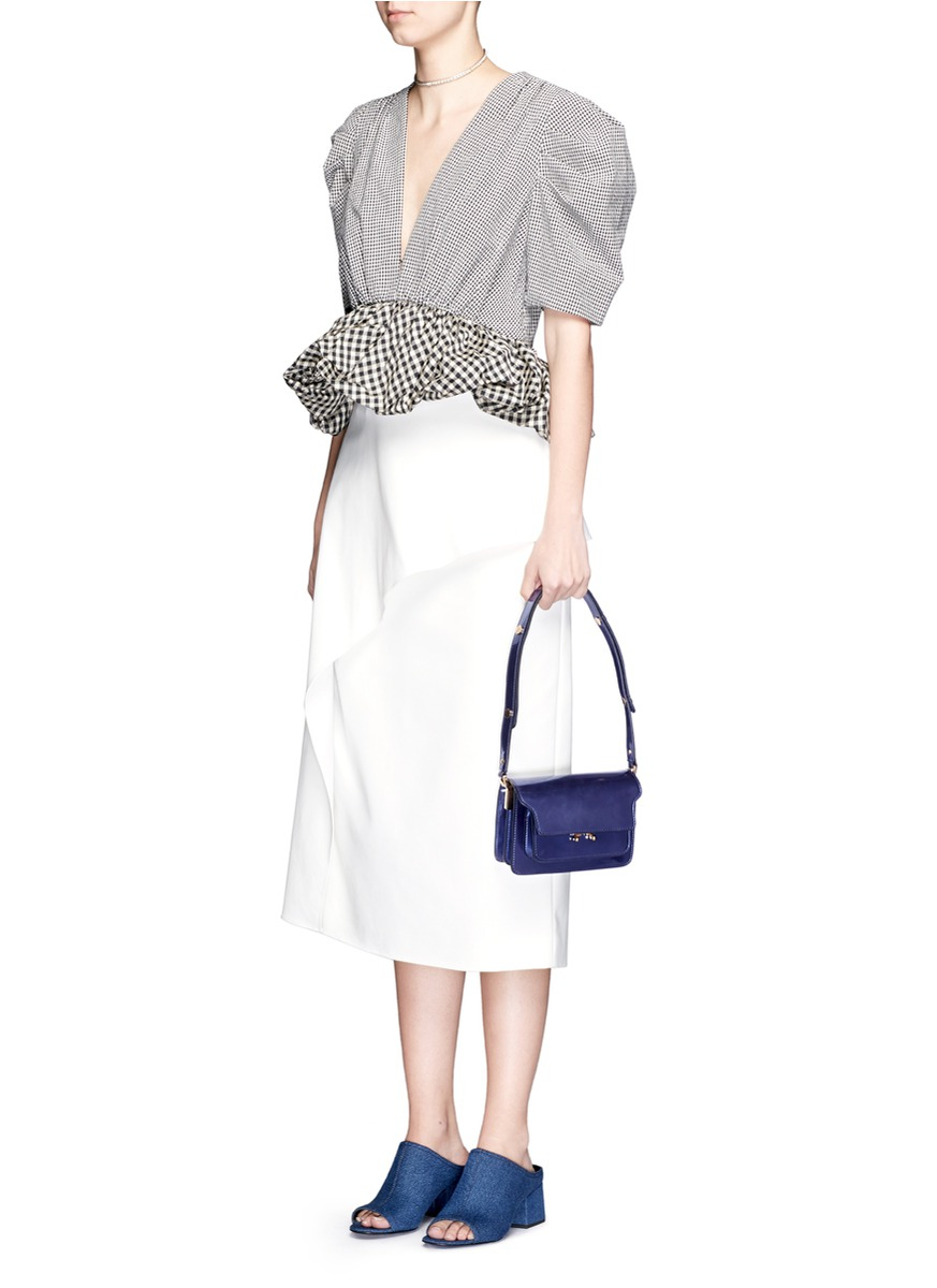 Marni  trunk  Mini Acccordion Patent Leather Flap Bag in Blue - Lyst 01bfe1a85bf3f