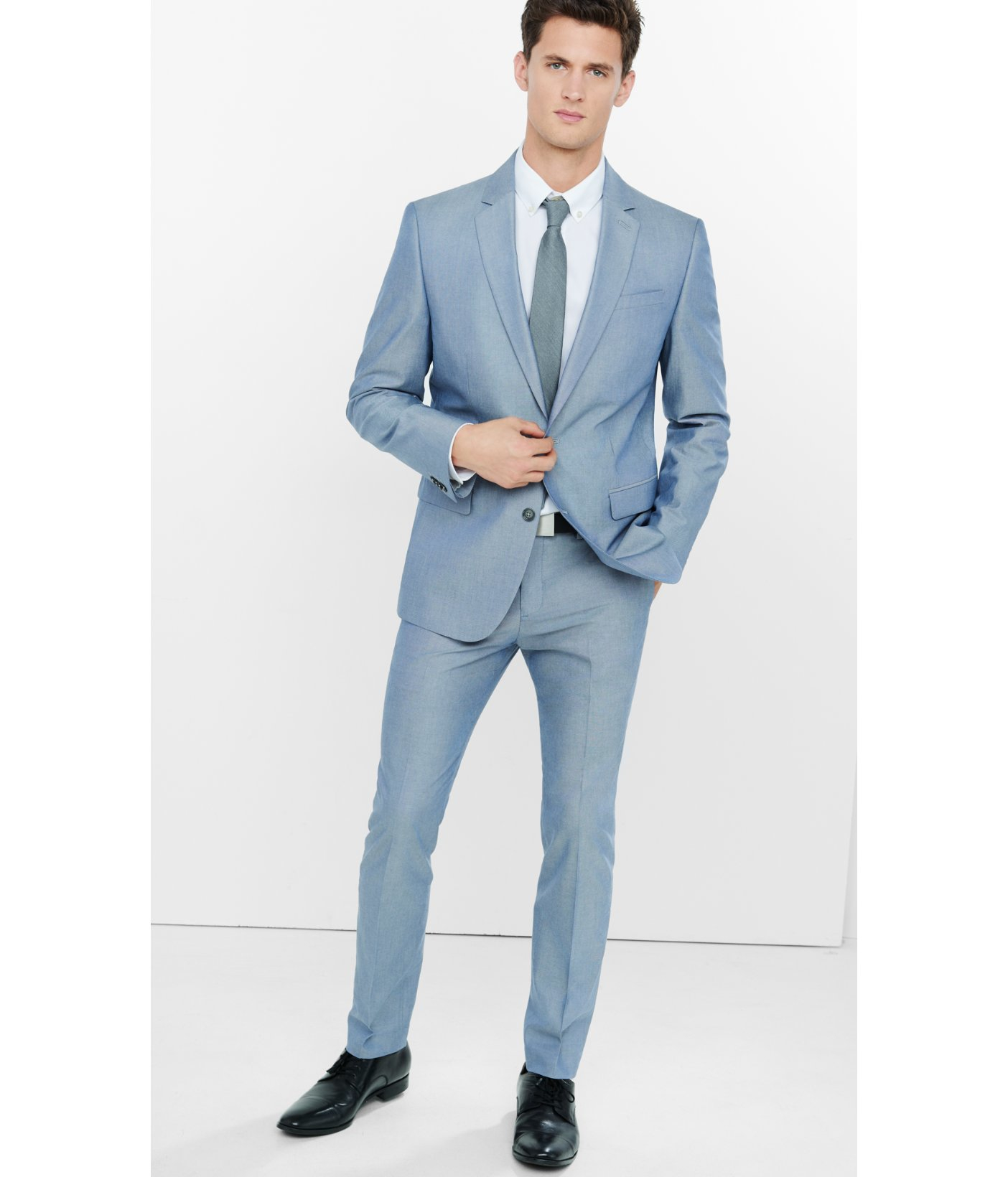 Lyst - Express Blue Oxford Cloth Innovator Suit Pant in Blue for Men