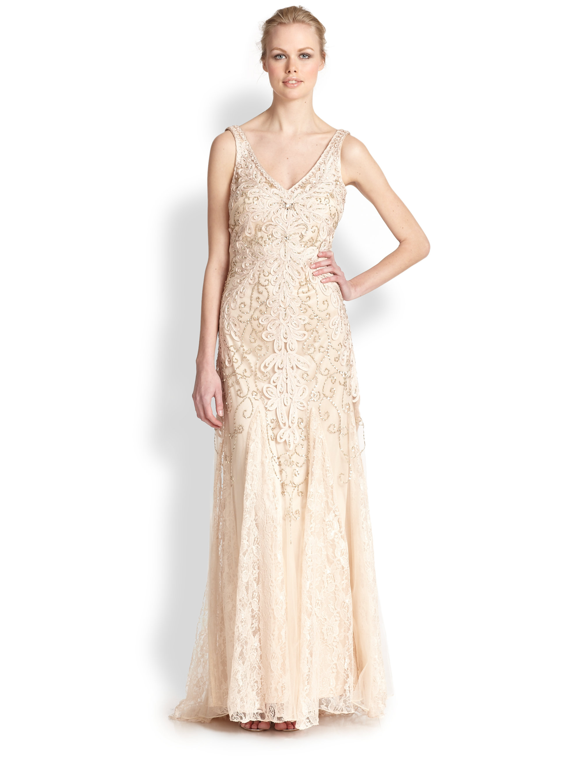 Lyst - Sue Wong Embroidered V-neck Chiffon Gown in Natural