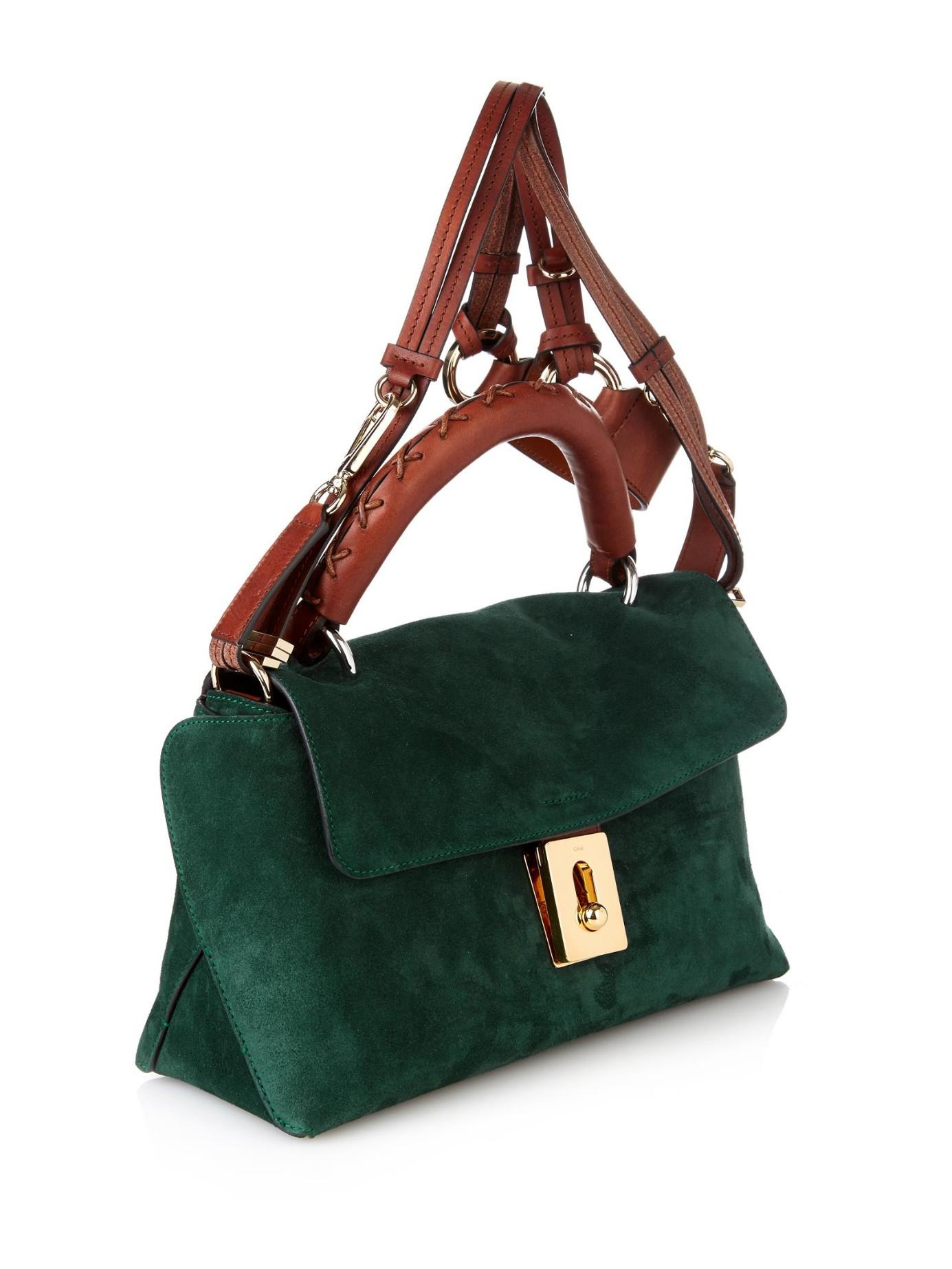 0295ef55fb Lyst - Chloé Fedora Small Suede Cross-Body Bag in Green
