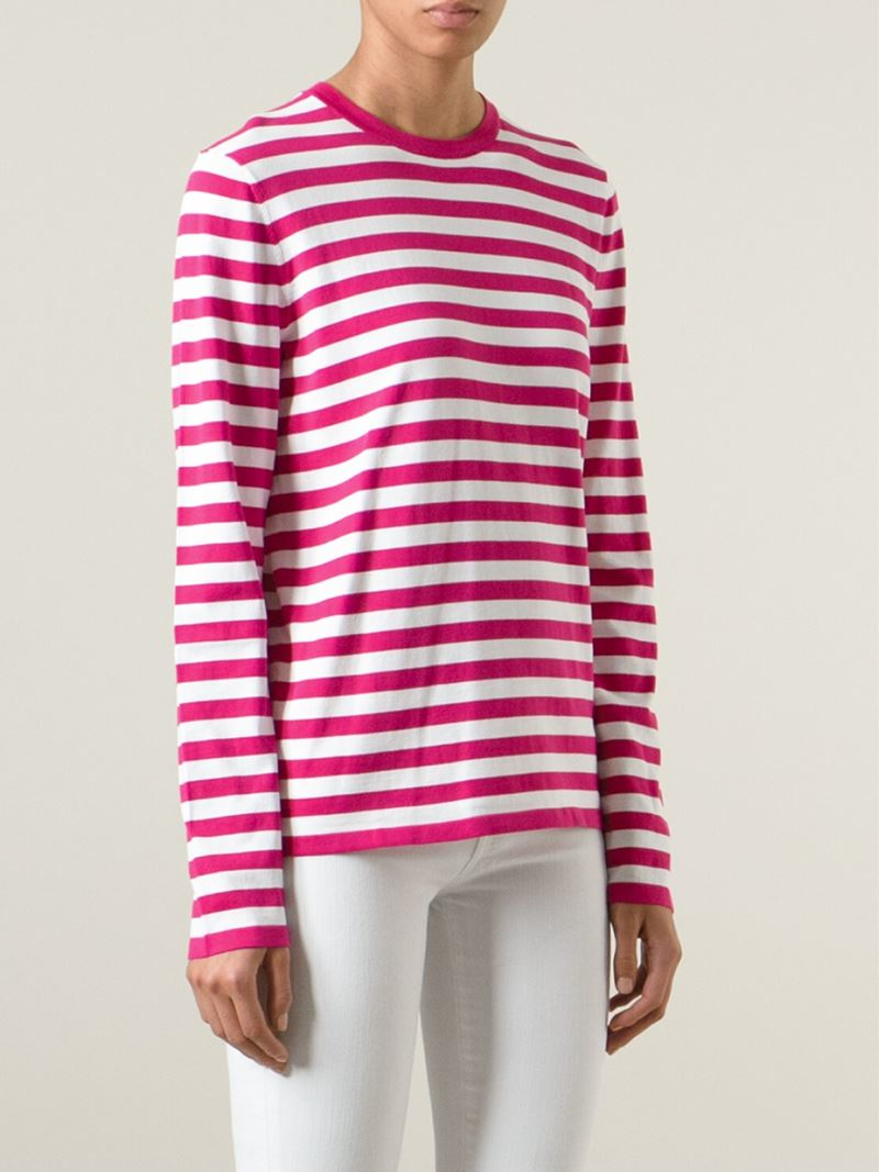 Lyst michael kors striped t shirt in pink for Pink white striped shirt