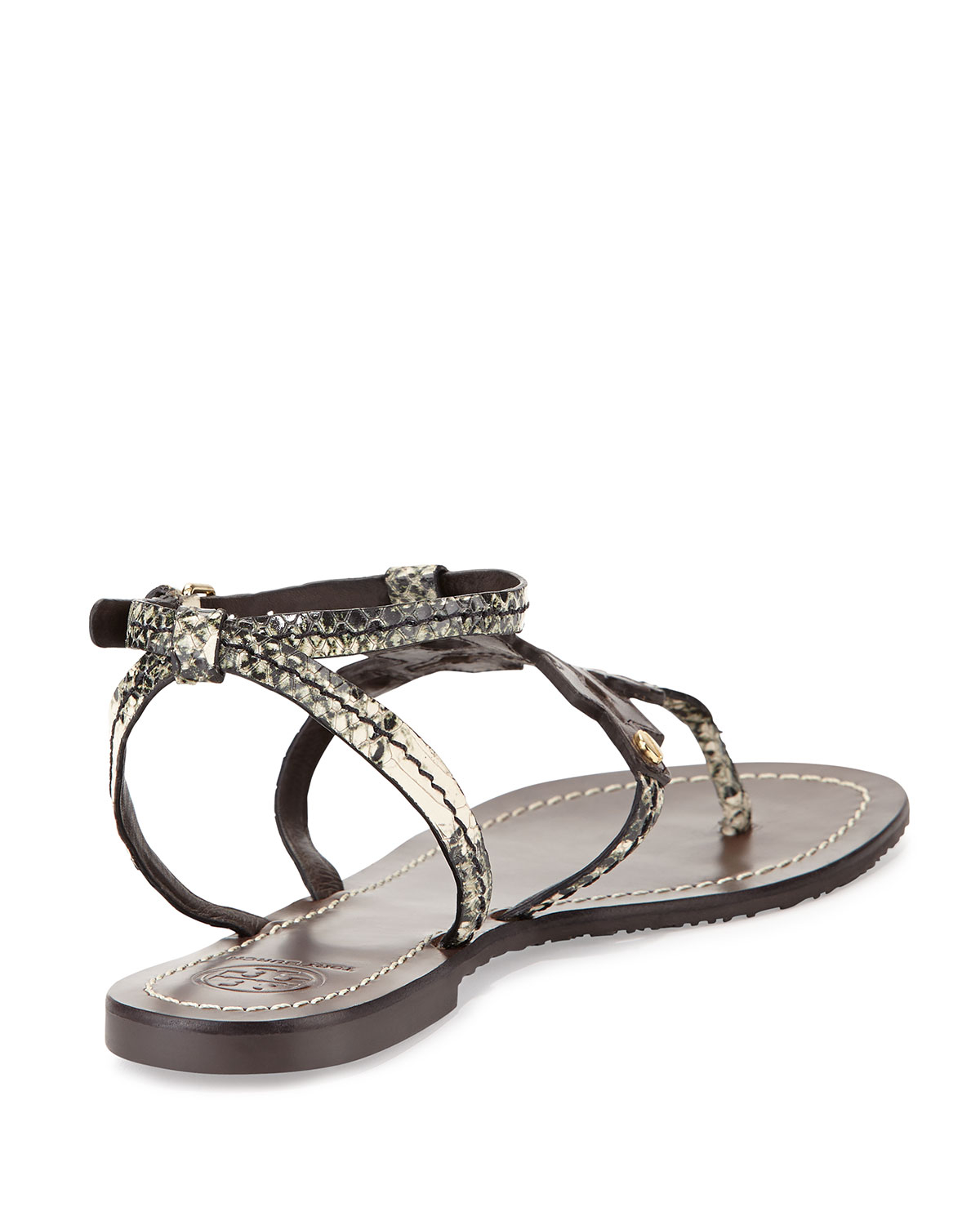 069390c703b5 Tory Burch Phoebe Snake-Embossed Leather Sandals in Black - Lyst