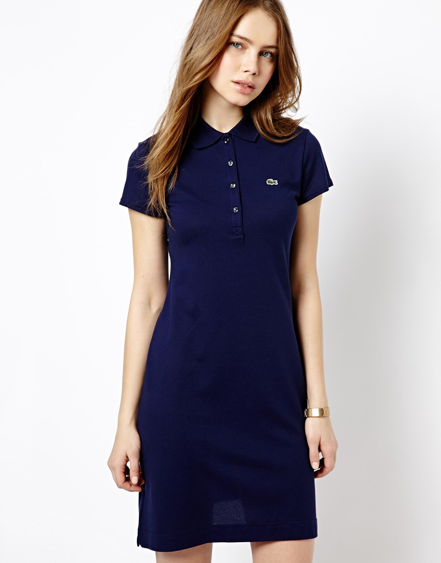 lacoste stretch polo dress in blue lyst
