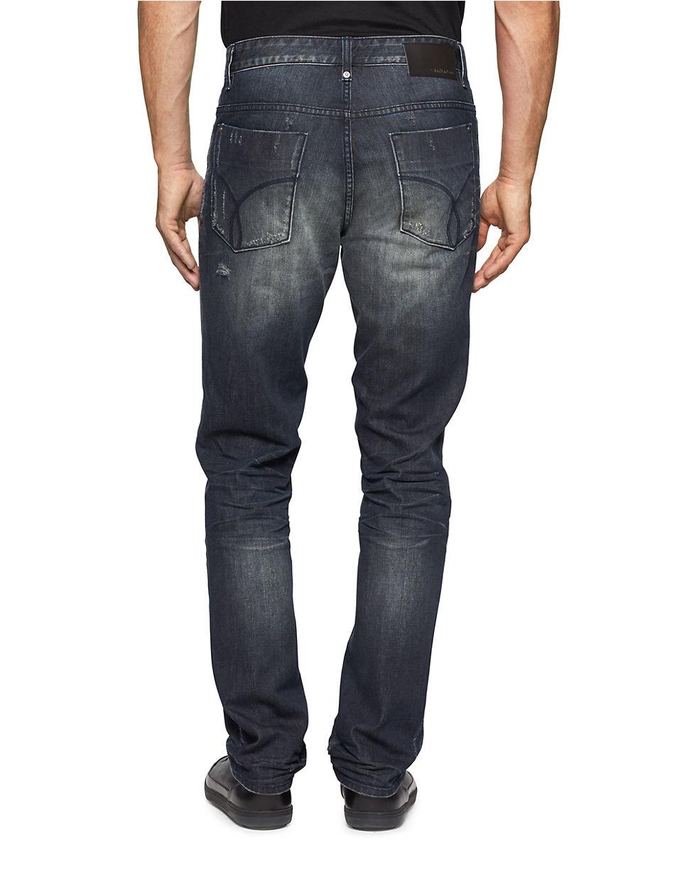 calvin klein jeans slim straight metal jeans in blue for. Black Bedroom Furniture Sets. Home Design Ideas