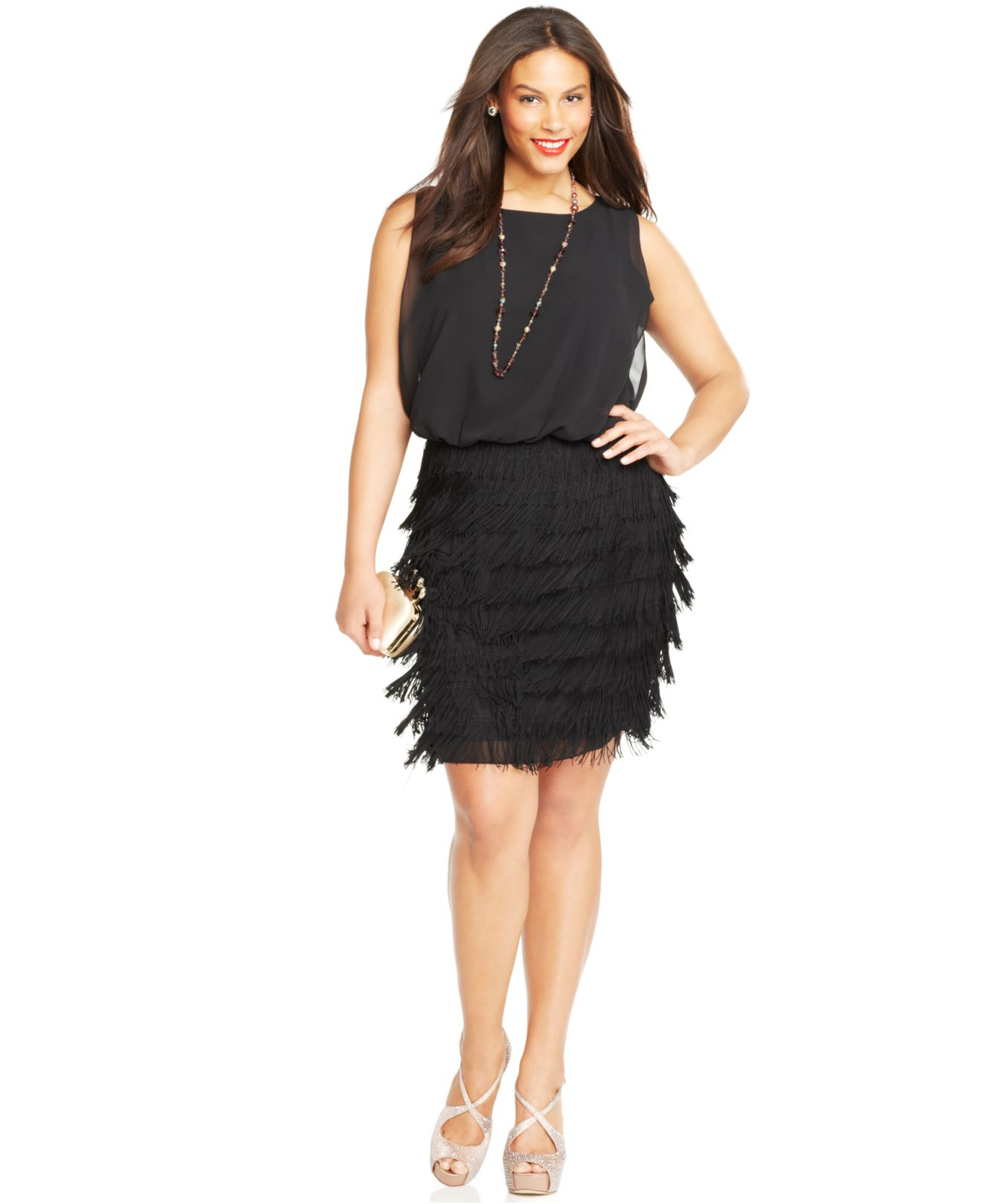 betsy & adam plus size fringed blouson dress in black | lyst