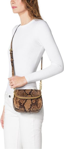 Michael By Michael Kors Bedford Snakeprint Flap Crossbody in Animal (SAND)