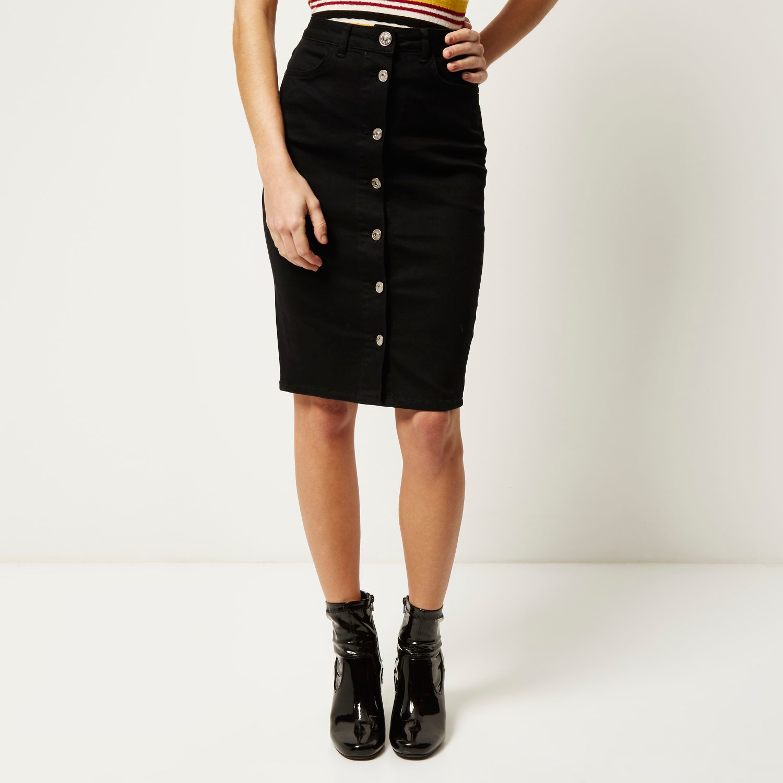 ed445901ff River Island Black Denim Button-up Pencil Skirt in Black - Lyst