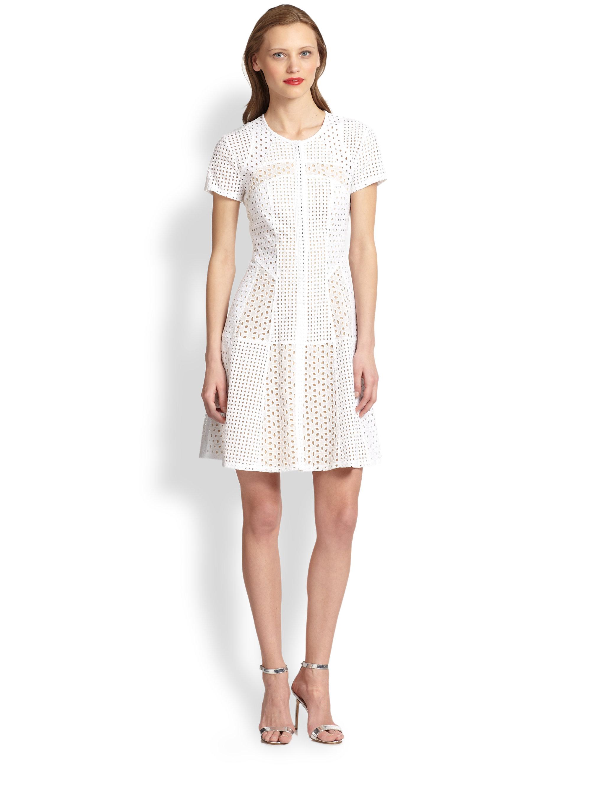 Bcbgmaxazria Macy Flare Dress in White | Lyst