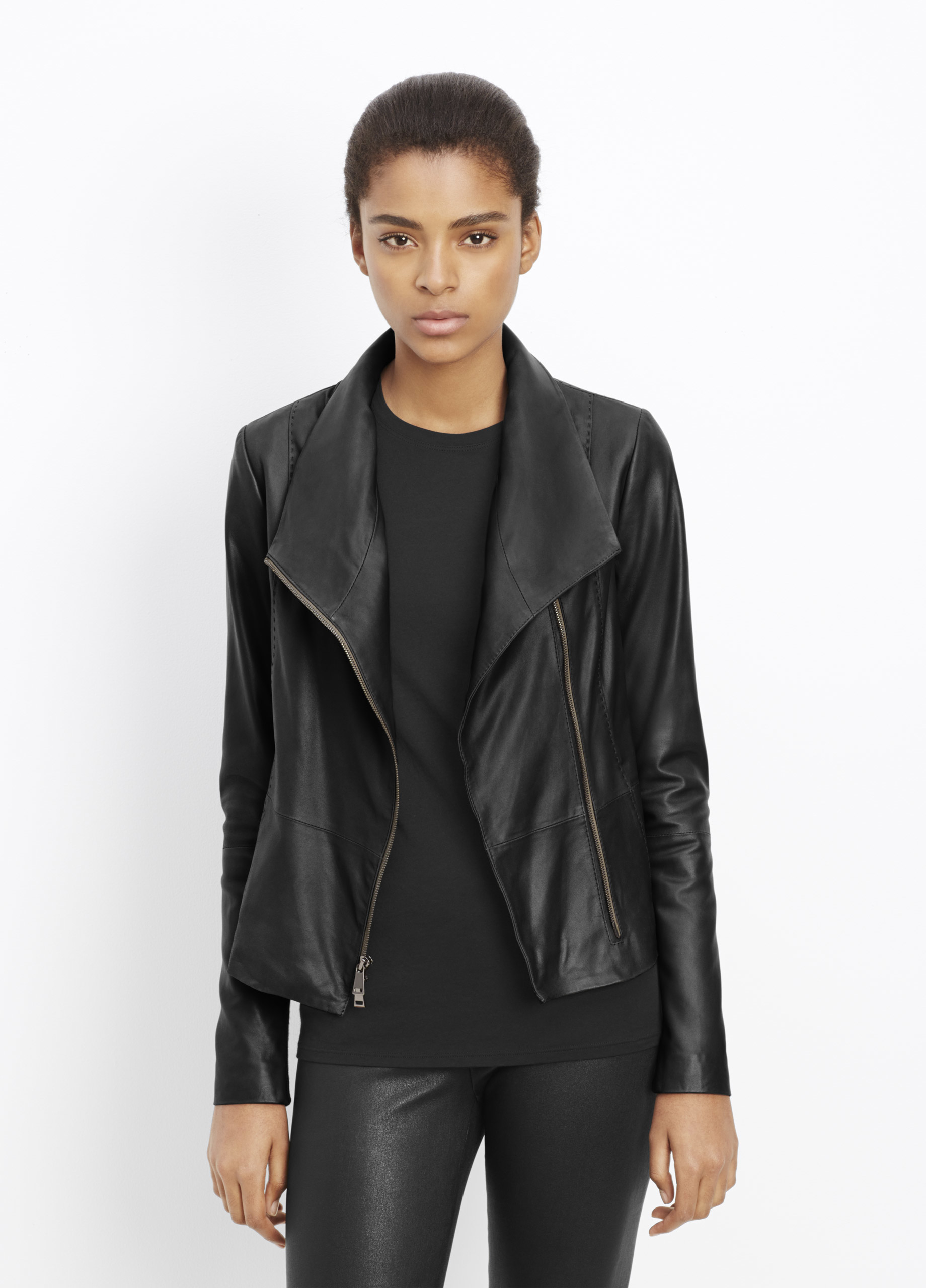 Lyst Vince Feather Leather Scuba Jacket In Black