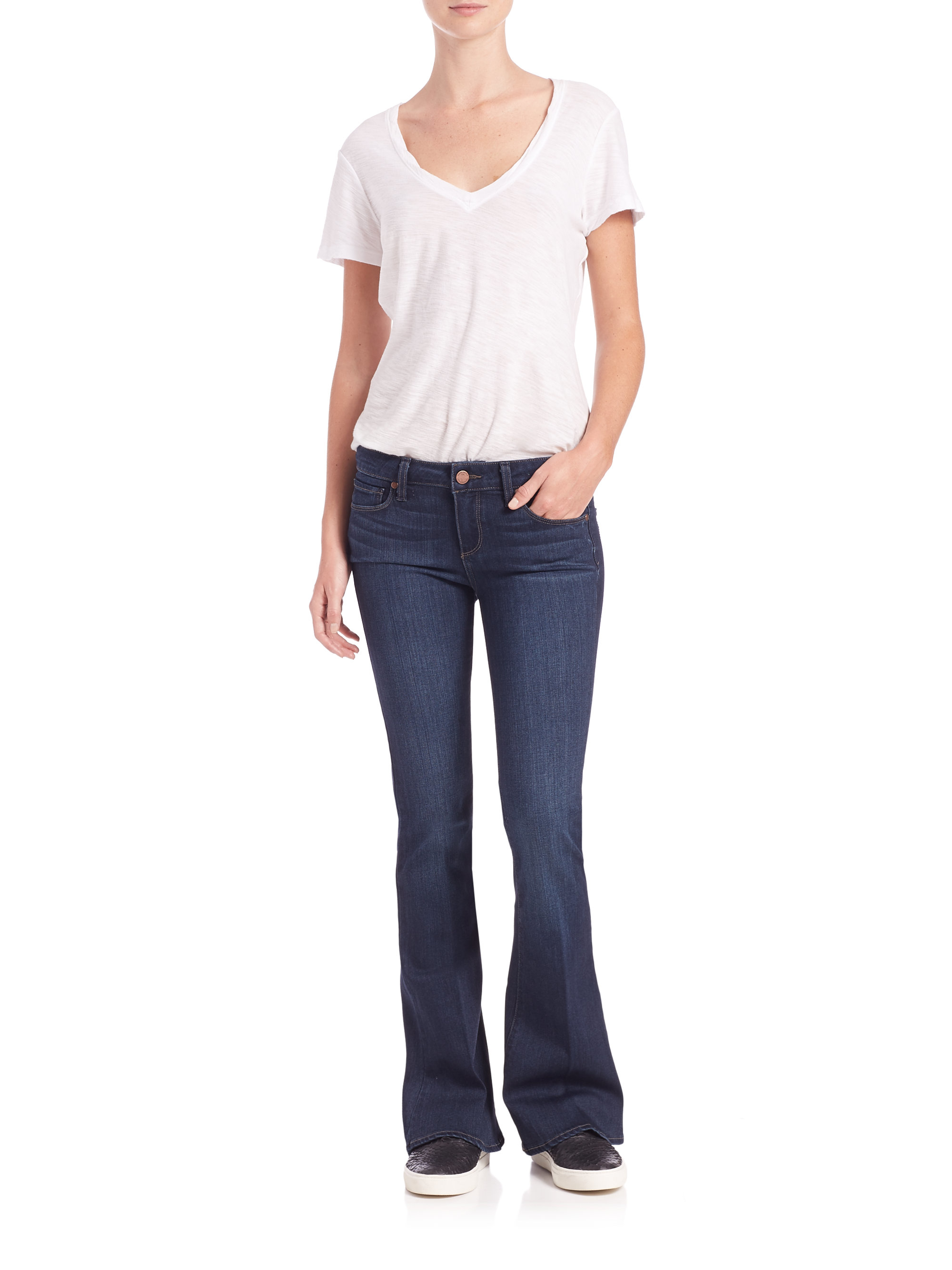 Lyst Paige Lou Lou Petite Flared Jeans In Blue