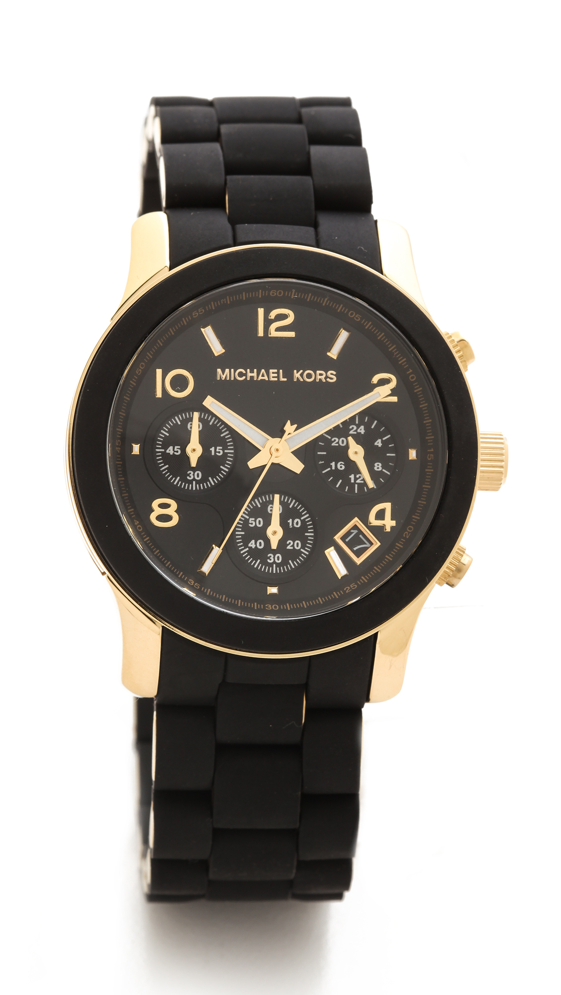 michael kors runway watch black in black lyst