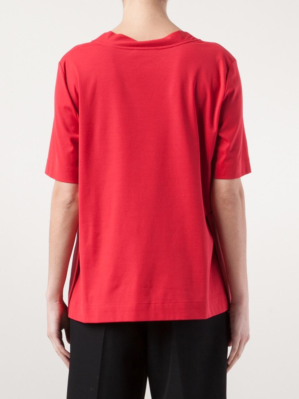 Lyst Jil Sander Wide Mock Neck Tshirt In Red