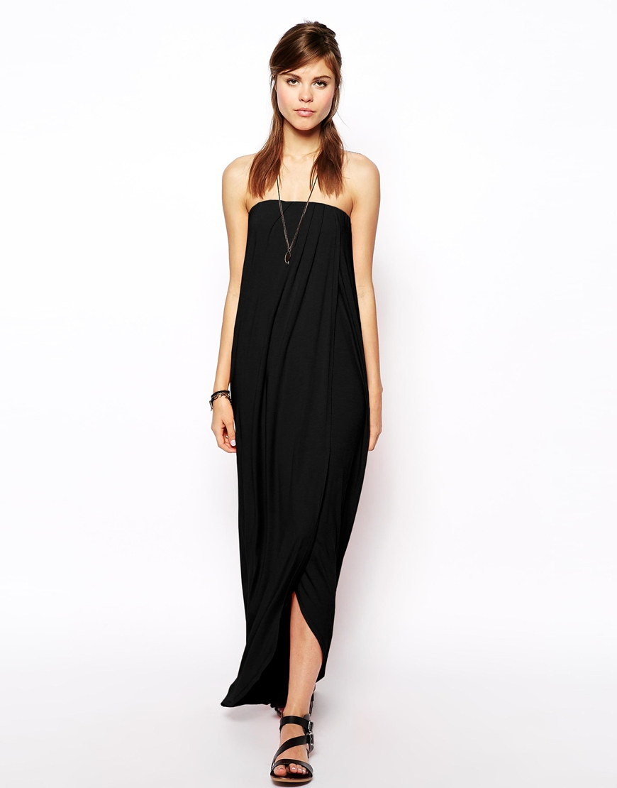 asos bandeau maxi dress with wrap front in black lyst. Black Bedroom Furniture Sets. Home Design Ideas
