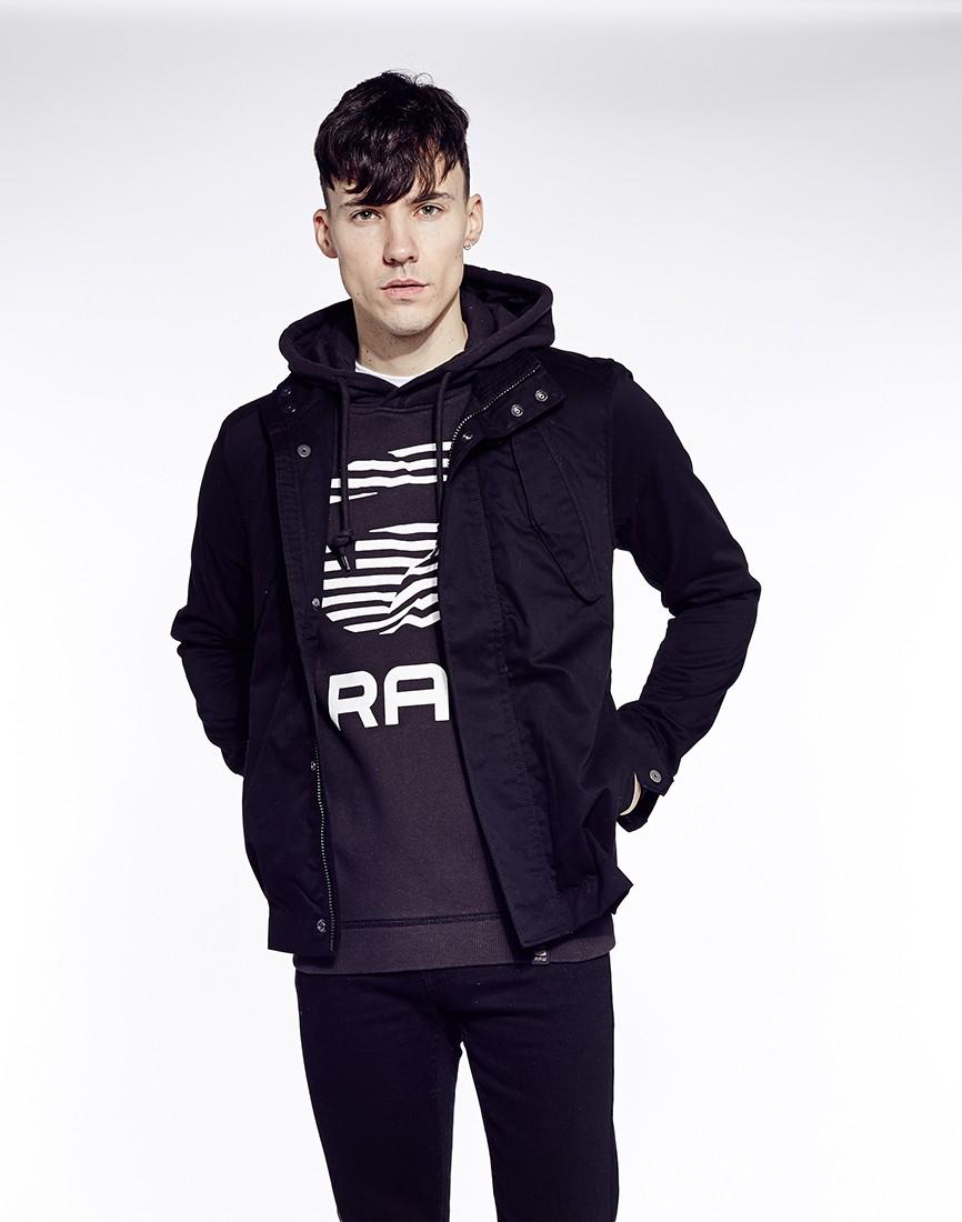 star raw g star rickner hoodie in black for men lyst. Black Bedroom Furniture Sets. Home Design Ideas