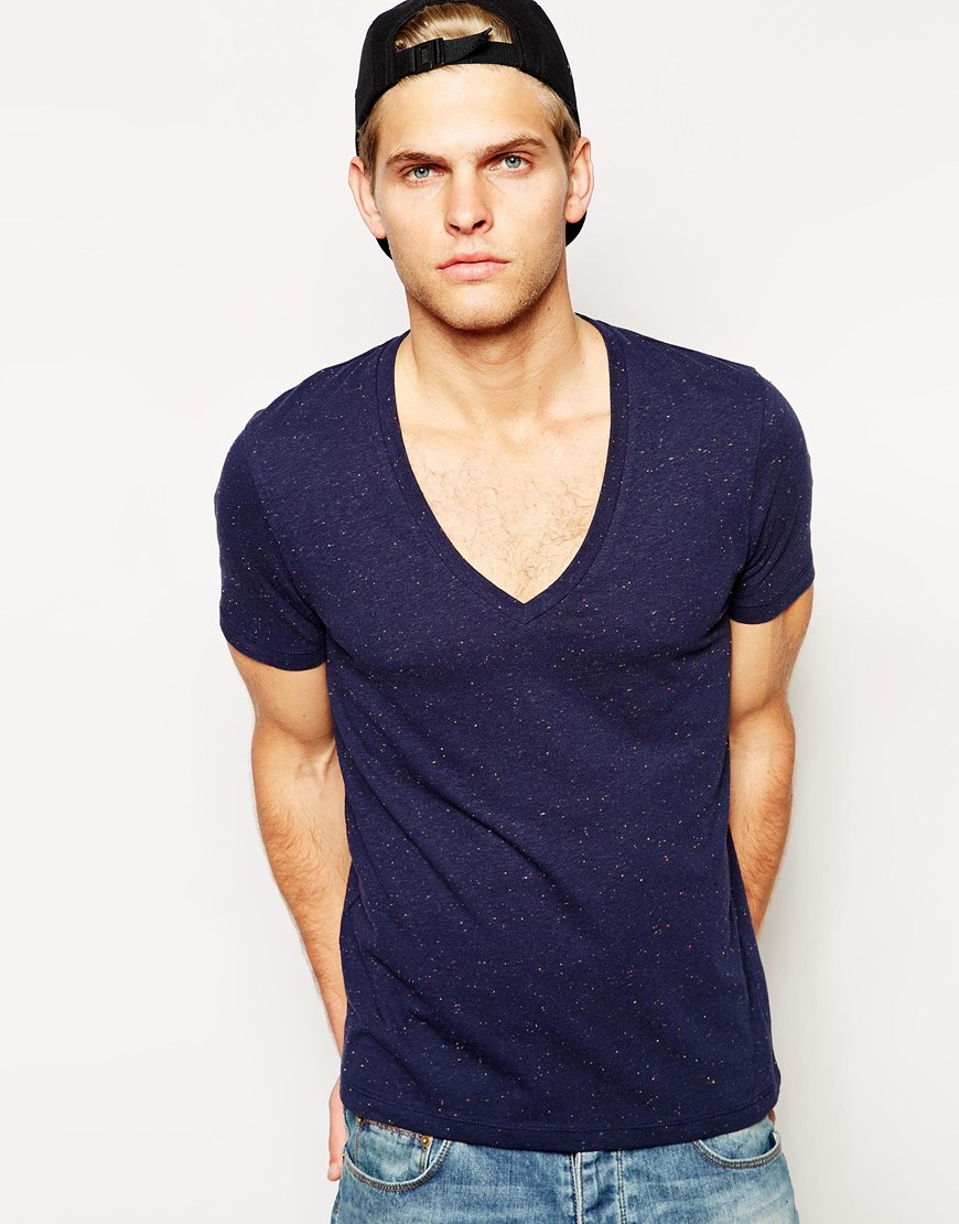 Lyst Asos T Shirt With Speckle Jersey And Deep V Neck In