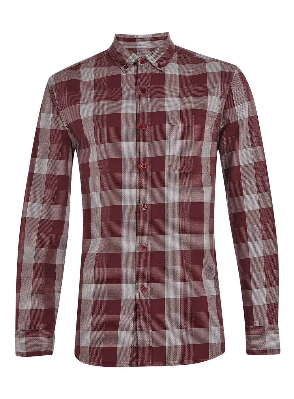 Topman Burgundy Grey Basket Casual Check Long Sleeve Shirt