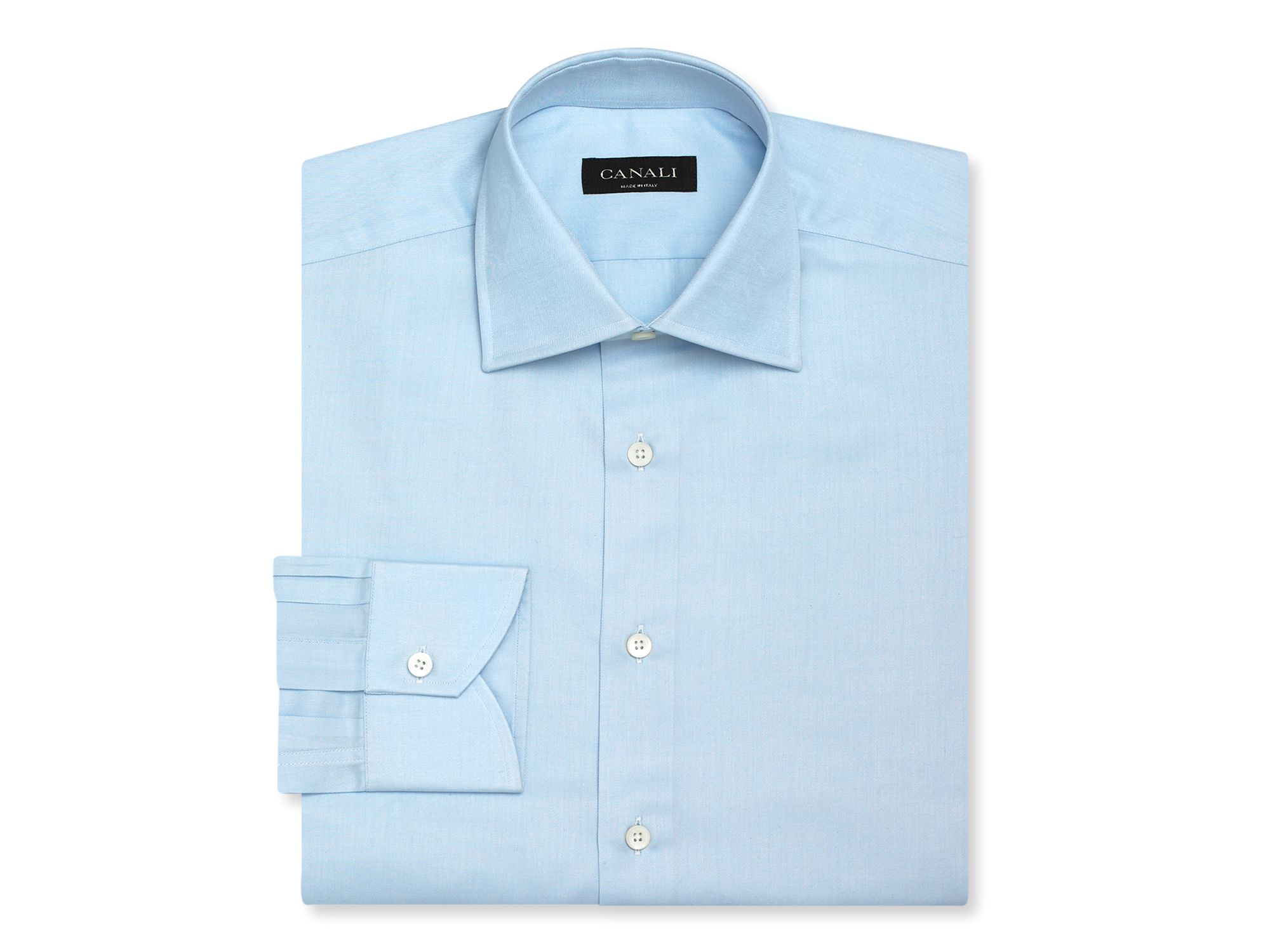 Canali solid dress shirt regular fit in blue for men for Regular fit dress shirt