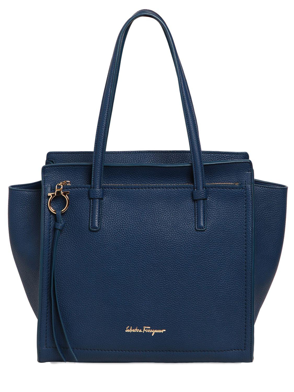 lyst ferragamo medium amy grained leather tote bag in blue. Black Bedroom Furniture Sets. Home Design Ideas