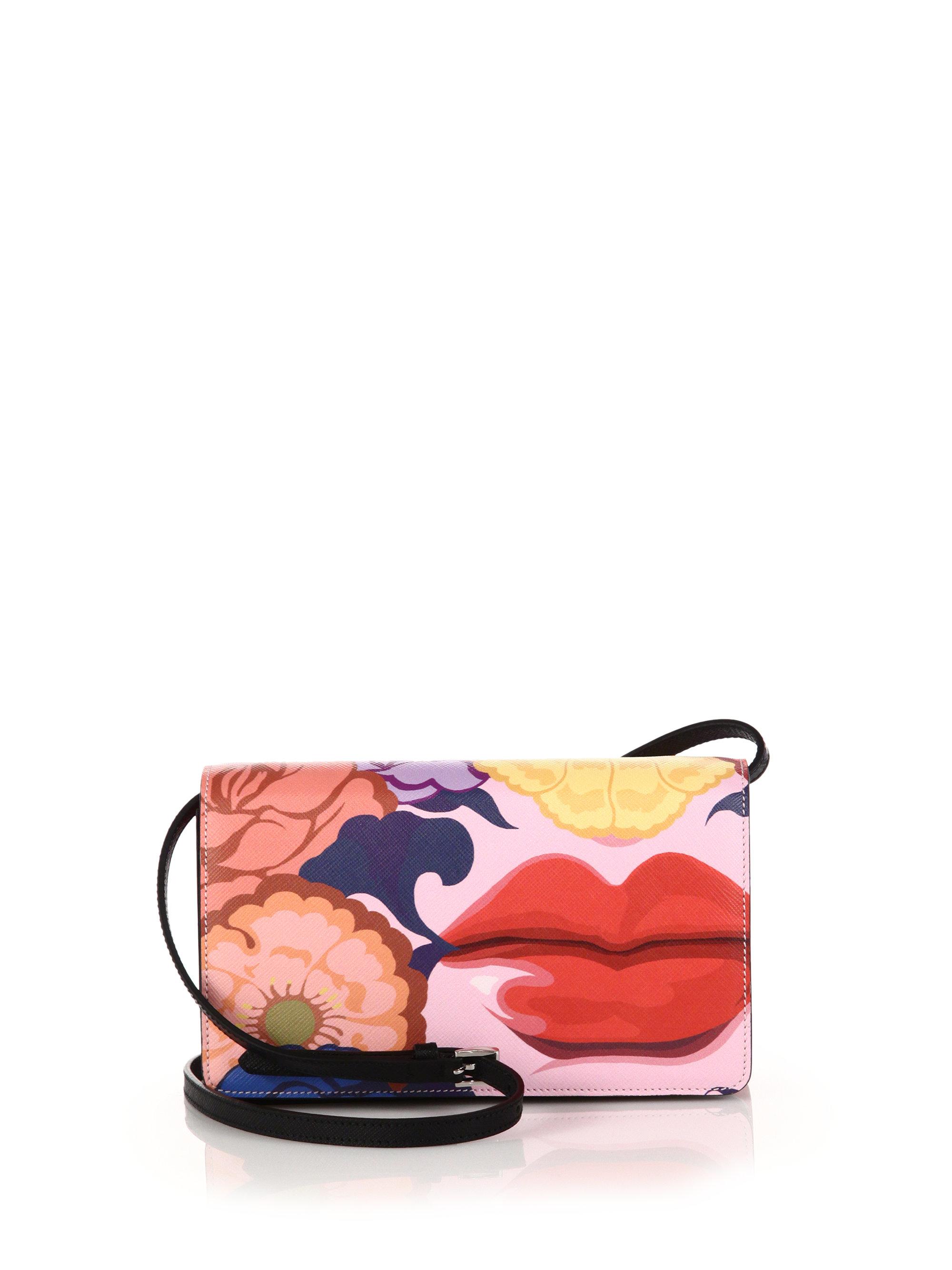 Prada Saffiano Lips-print Crossbody Bag in Multicolor (black-multi ...