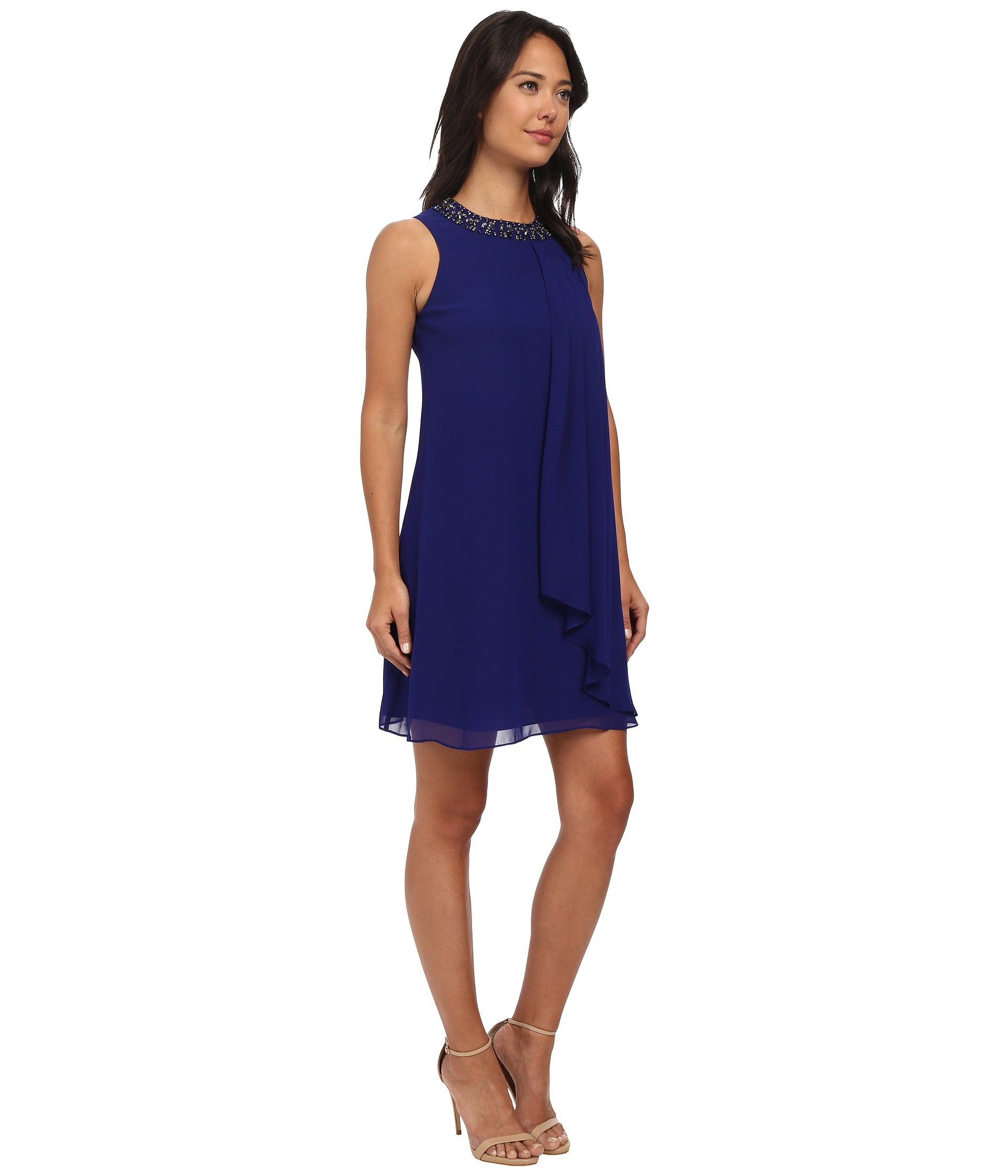 dc33a438bc355 Lyst - Vince Camuto Beaded Neck Sleeveless Chiffon Trapeze Dress in Blue