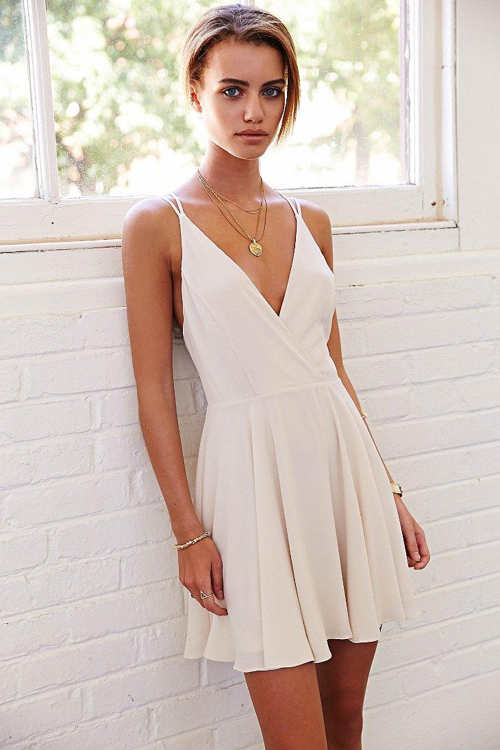 f2d8f4612e Lyst - Sparkle   Fade Strappy Chiffon Skater Dress in White