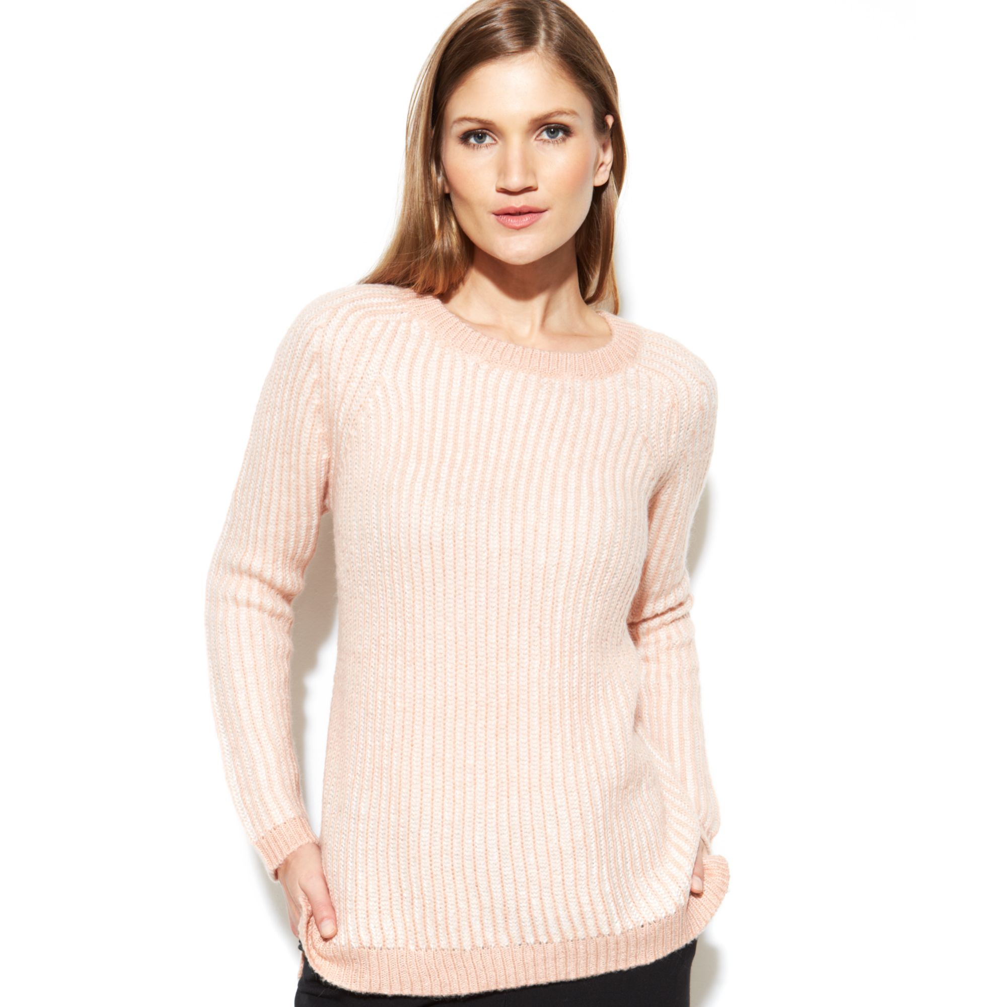 calvin klein contrast stitch sweater in pink lyst. Black Bedroom Furniture Sets. Home Design Ideas