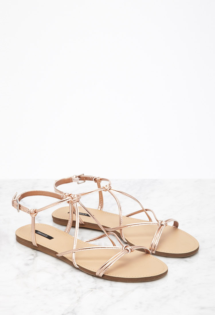 59eaeb455bf1bb Lyst - Forever 21 Metallic Knotted Sandals in Pink