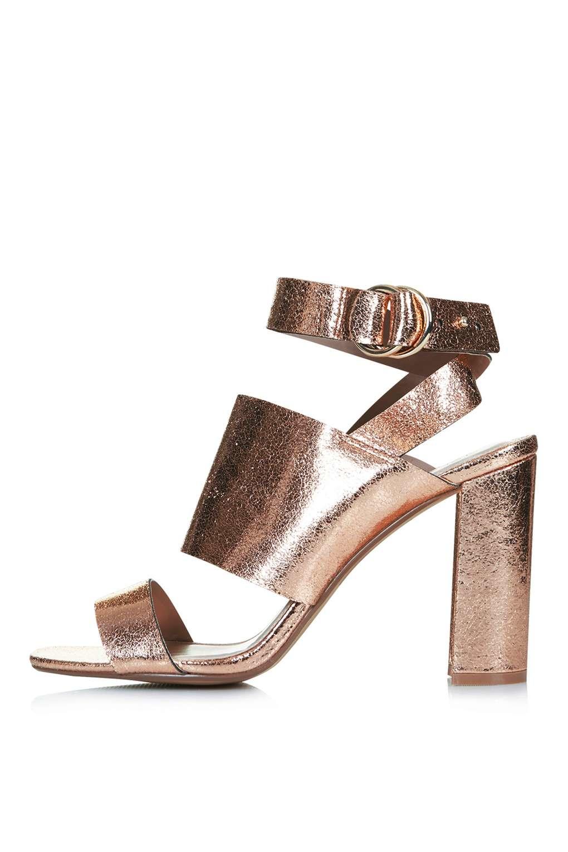 afc7118f73d TOPSHOP Monica Block Heel Sandals in Metallic - Lyst