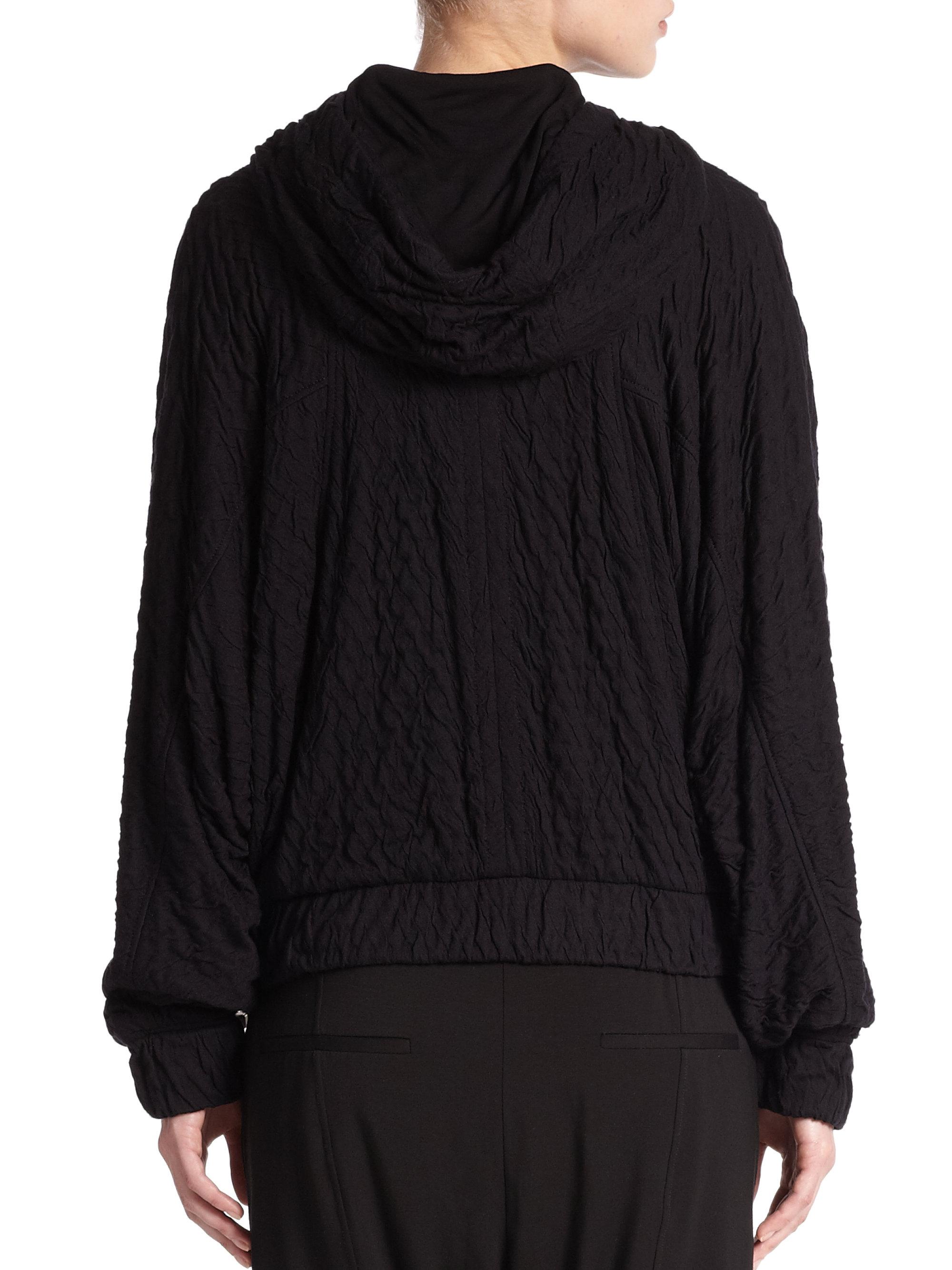 Lyst helmut lang undulate zip front hooded sweatshirt in - Sweatshirt kleid lang ...