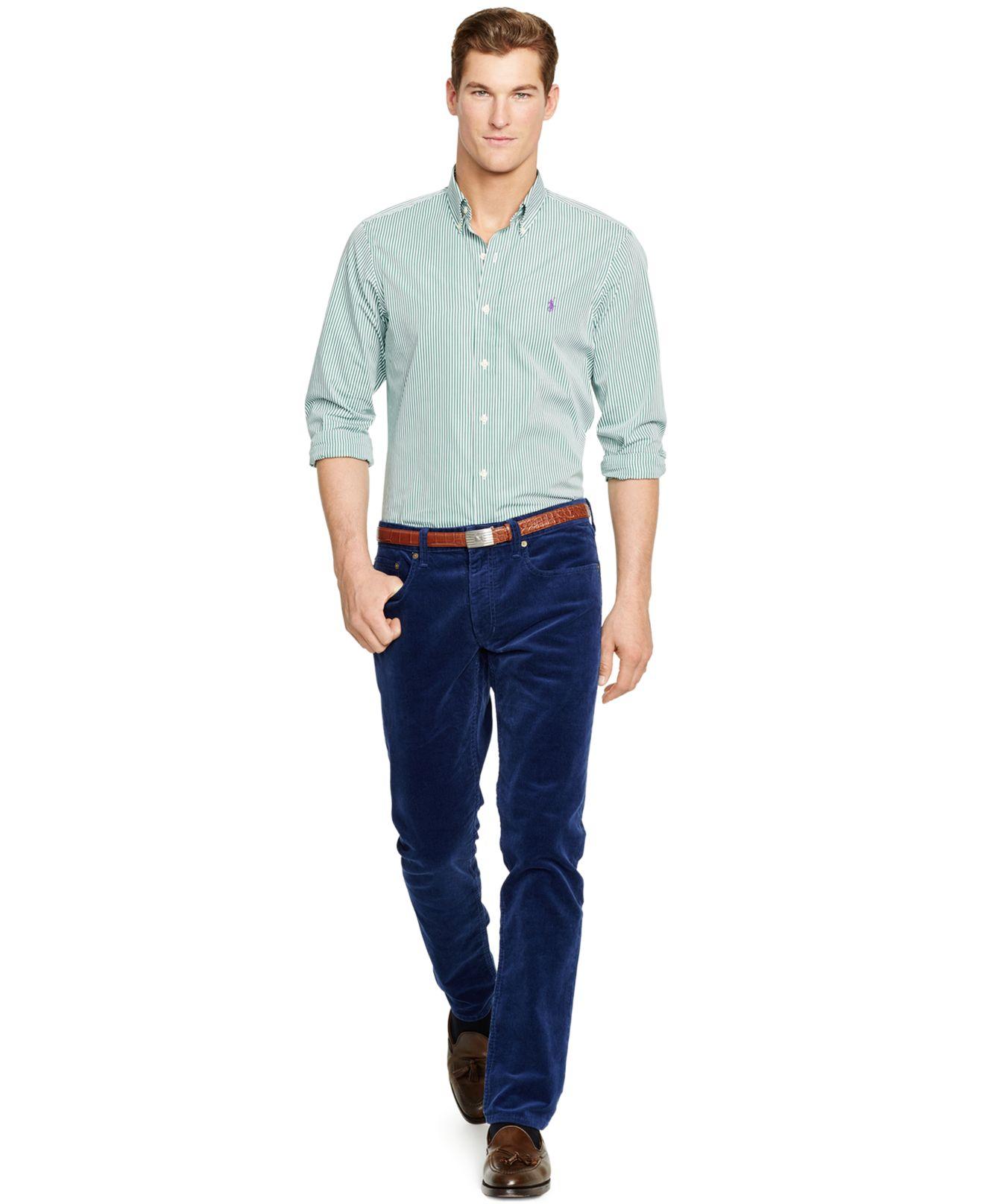 ed3873ad99 ... promo code for lyst polo ralph lauren striped poplin shirt in green for  men 97685 ec99a