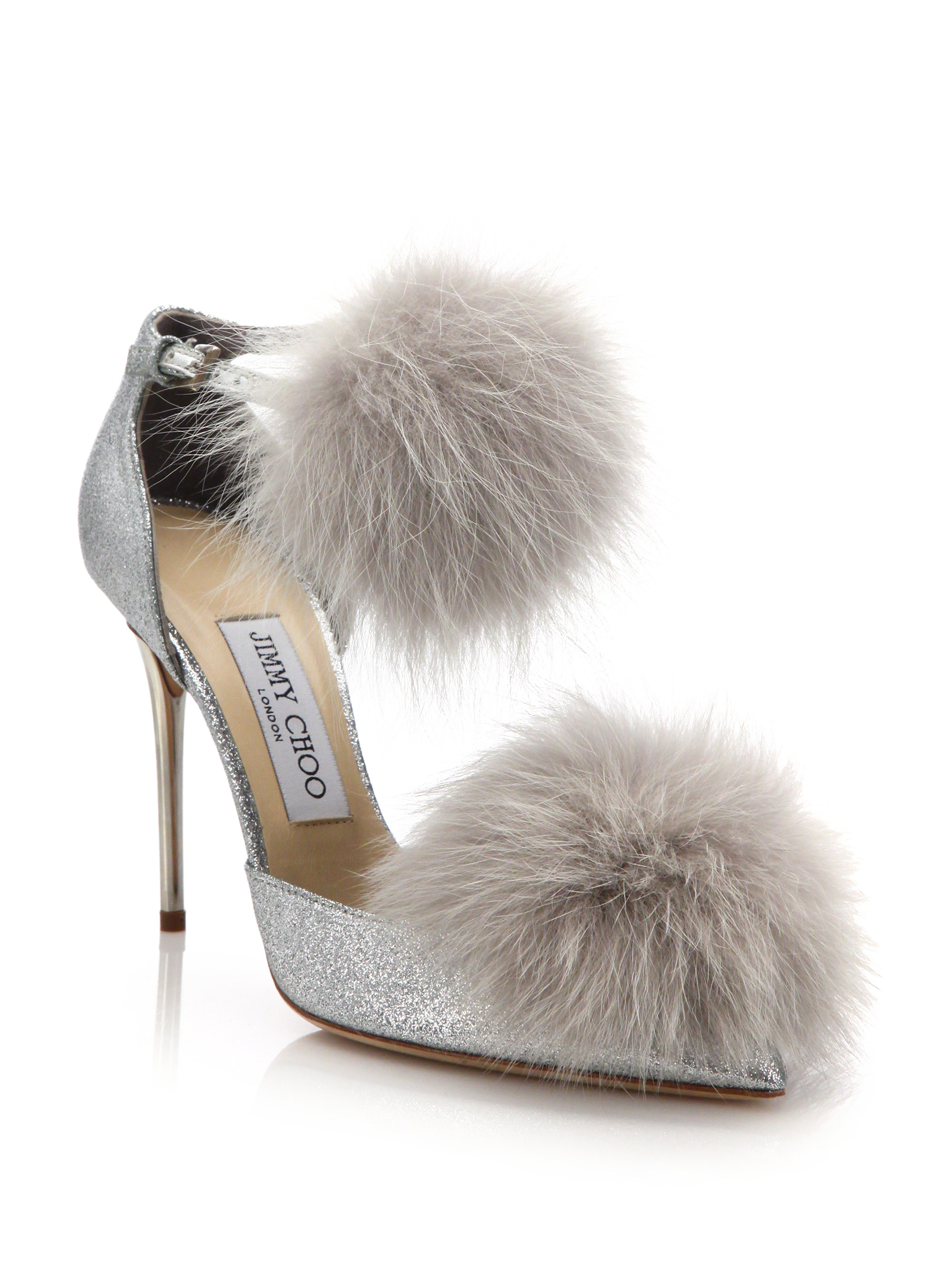 07bea52047d Lyst - Jimmy Choo Dolly 100 Fox Fur   Glittered Textile Ankle-strap ...