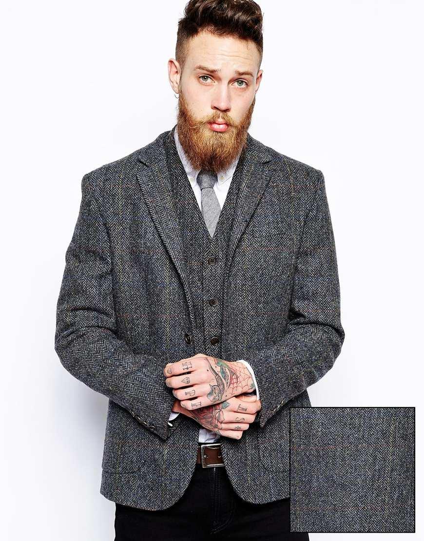 Asos Slim Fit Blazer In Harris Tweed - Grey in Gray for Men | Lyst