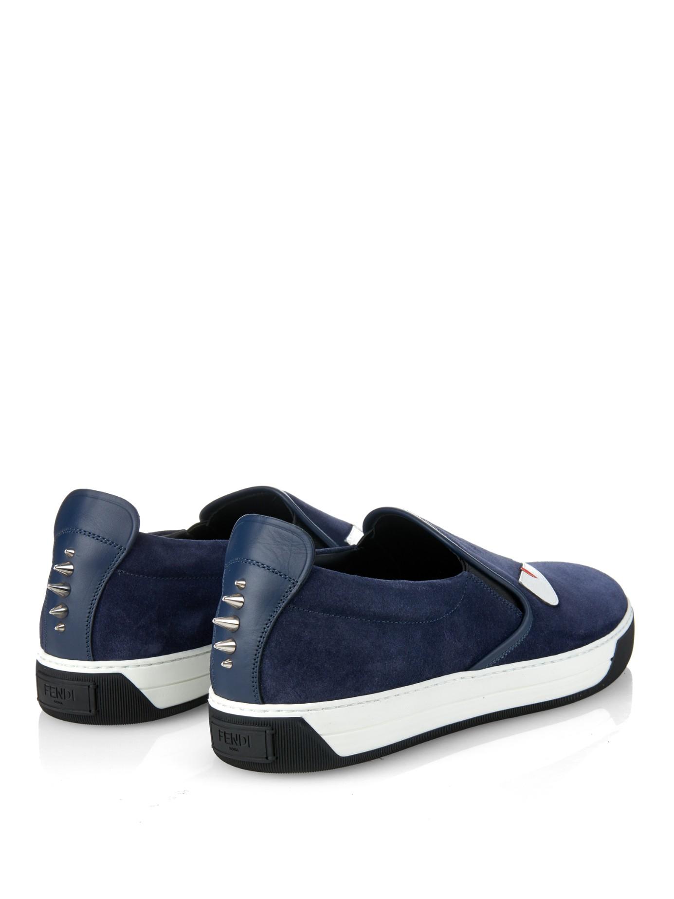 Bugs Sac Fendi Glisser Sur Chaussures De Sport - Bleu eHHiyaC
