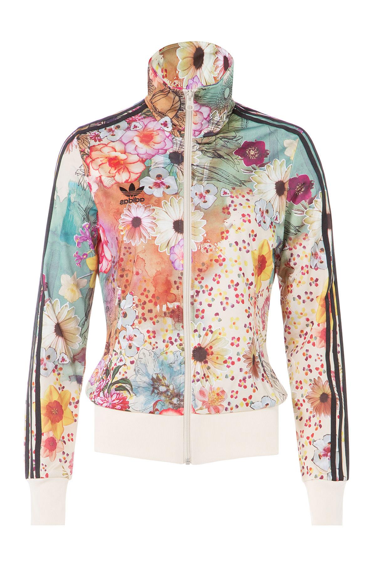 Adidas Originals Floral Print Zip Front Jacket