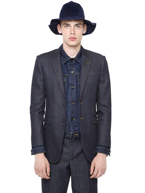 Burberry prorsum Cotton Denim Blazer in Blue for Men | Lyst