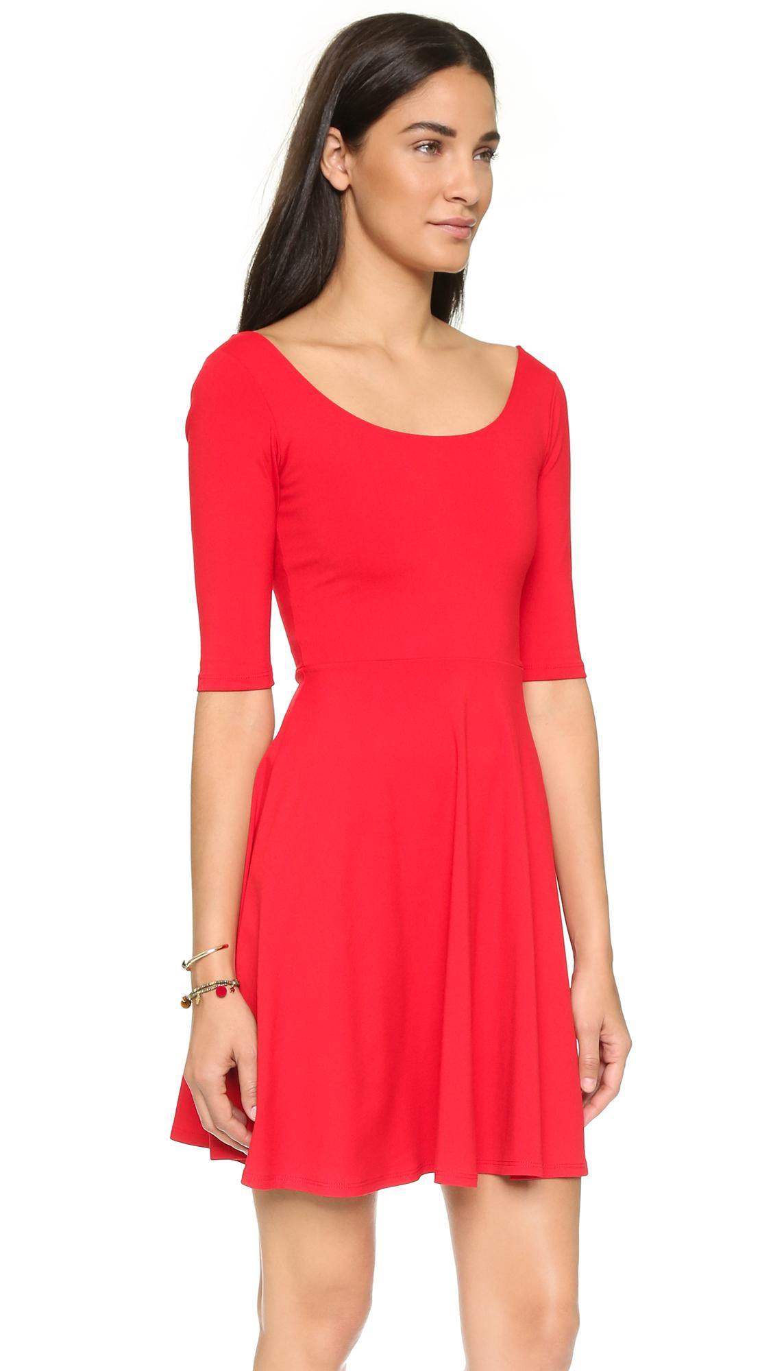 Susana monaco Mini Flare Dress in Red | Lyst