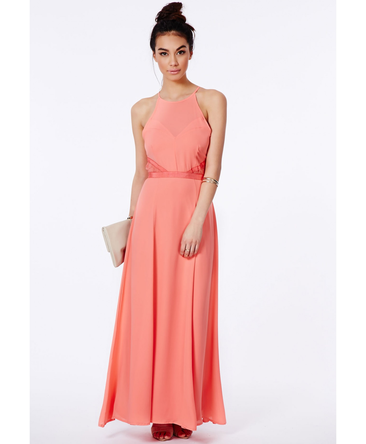 Missguided Kamilinka Lace Backless Maxi Dress In Coral in Red | Lyst