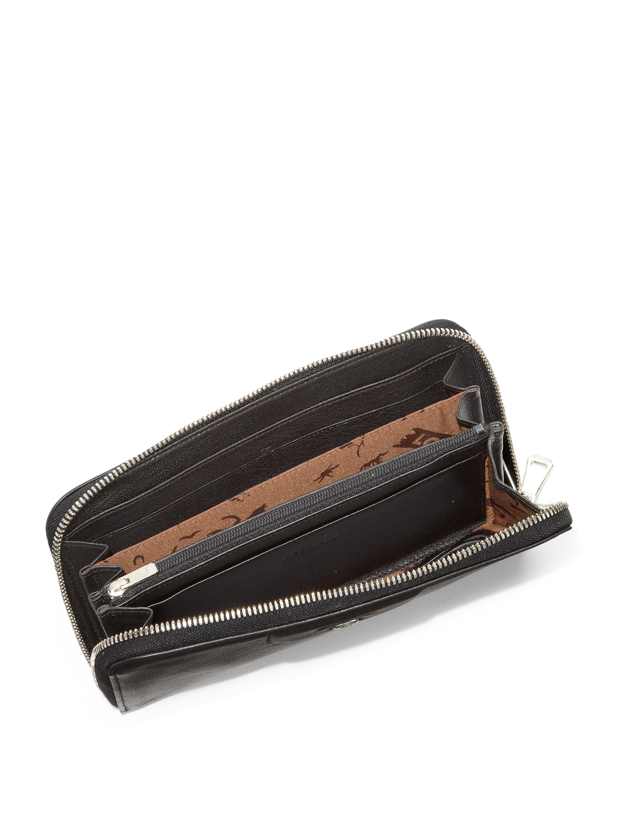 fd042b0a3a Longchamp Le Pliage Cuir Zip-Around Wallet in Black - Lyst