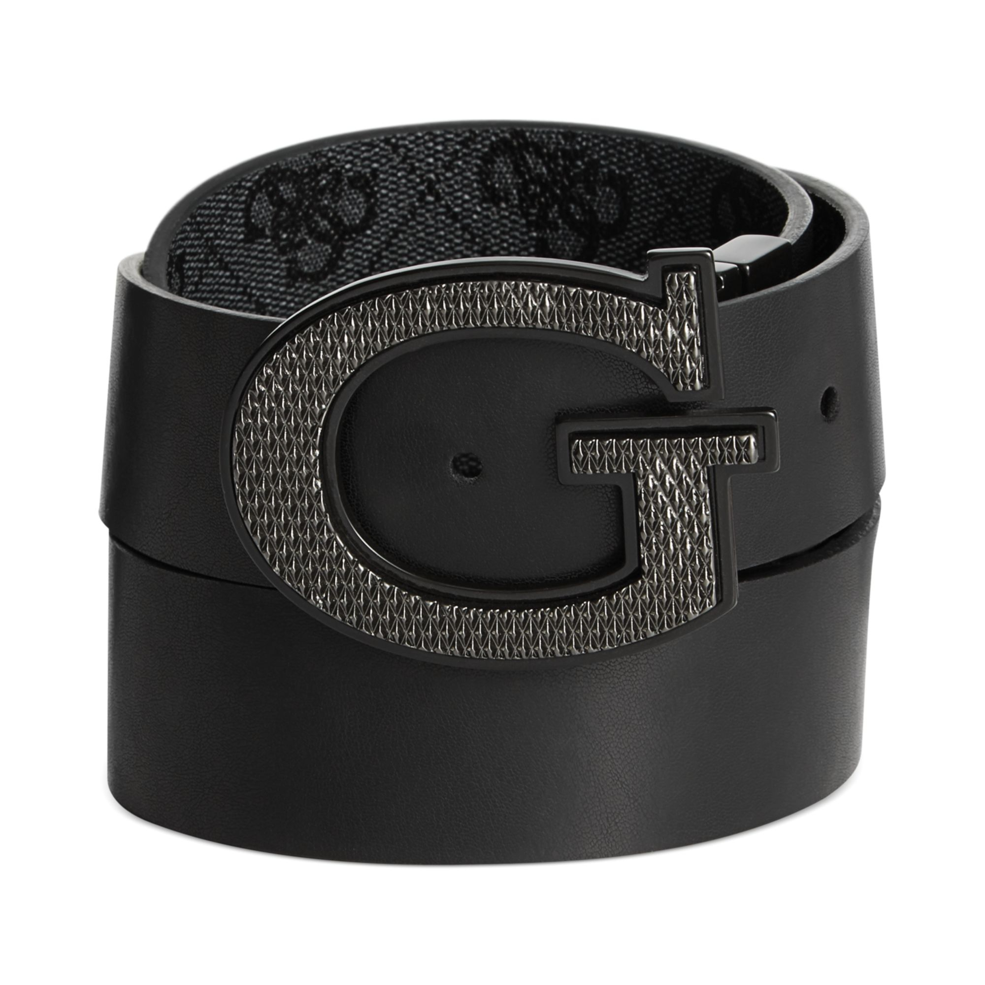 Lyst - Guess 35mm Reversible Leather Logo Buckle Belt in Black for Men bcc797c90df4