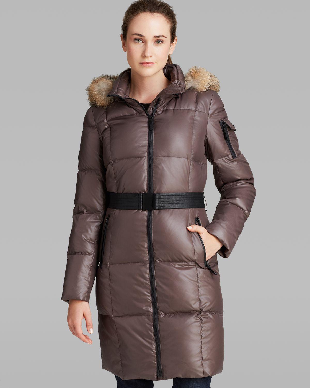 Marc New York Puffer Coat Abbie Fur Trimmed Hood Belted