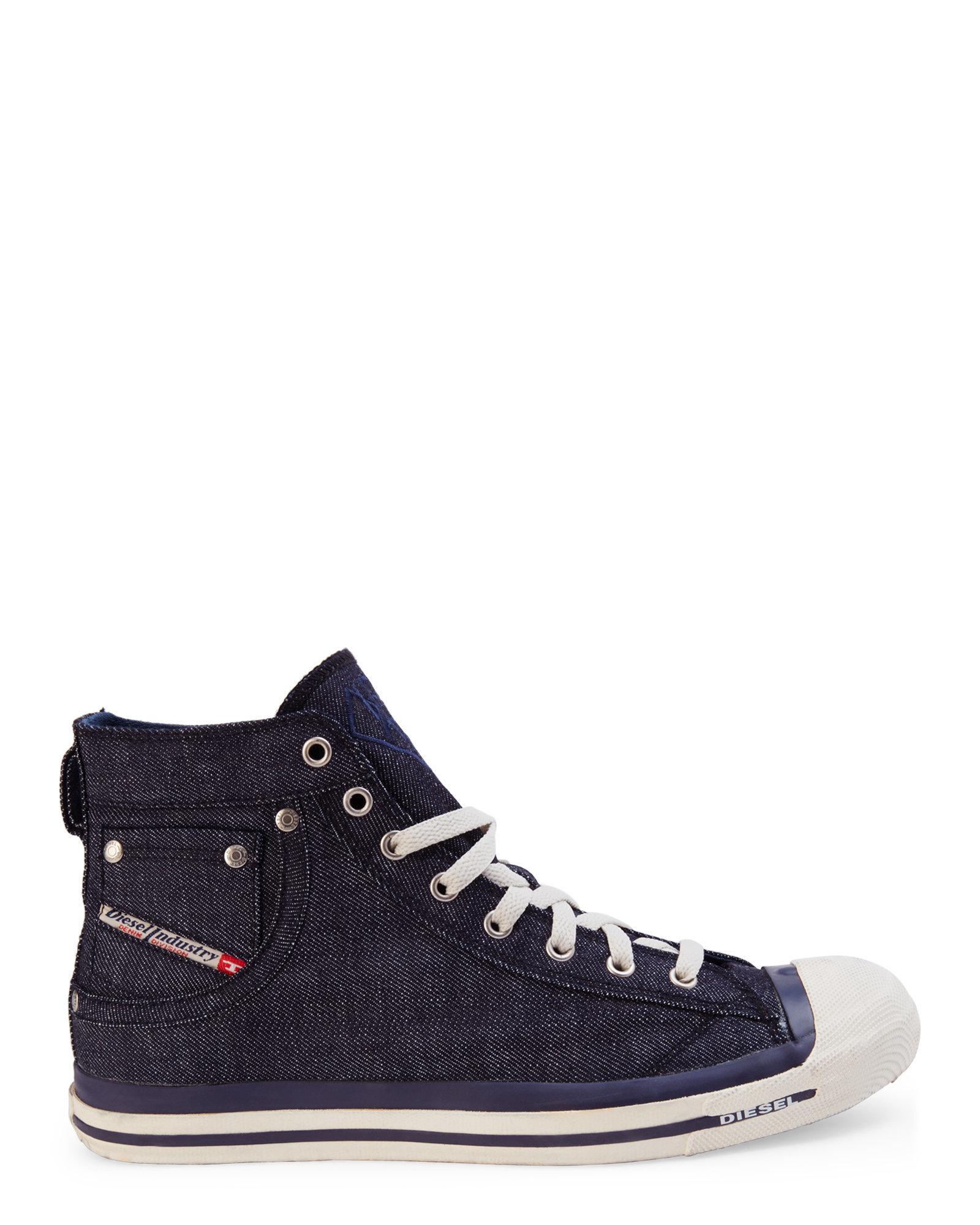 50b2a72a73c DIESEL Indigo Magnete Exposure High-Top Sneakers in Metallic for Men ...