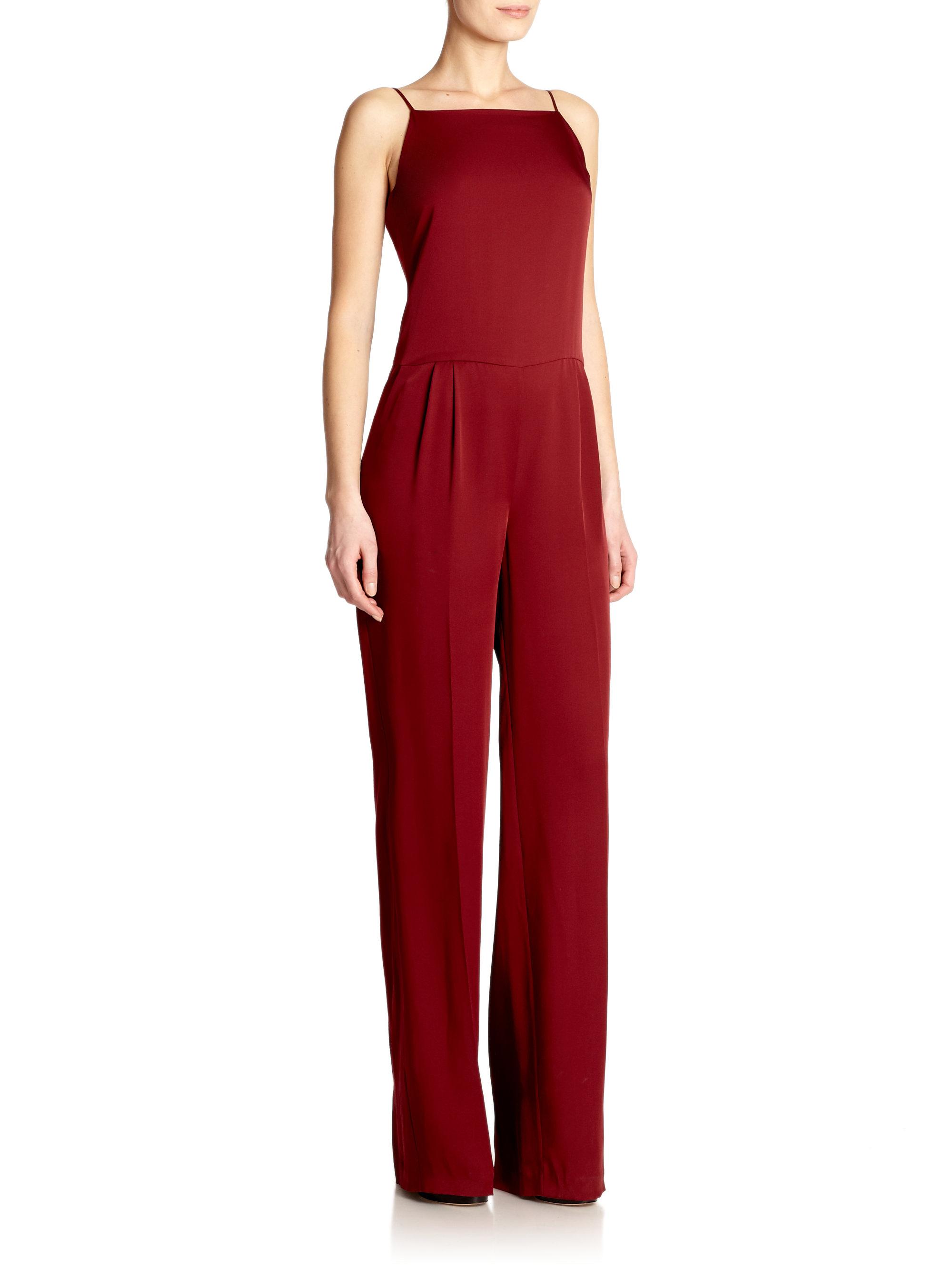 ebbb2667504 Lyst - Theory Vintan Silk Jumpsuit in Red