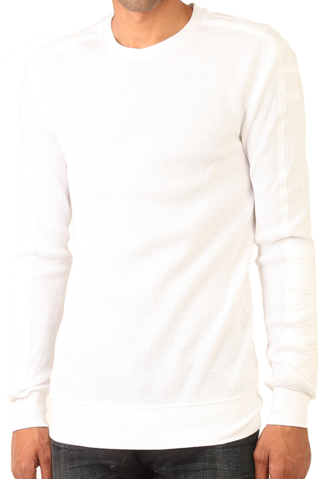 Helmut Lang Waffle Crewneck Thermal Shirt In White For Men